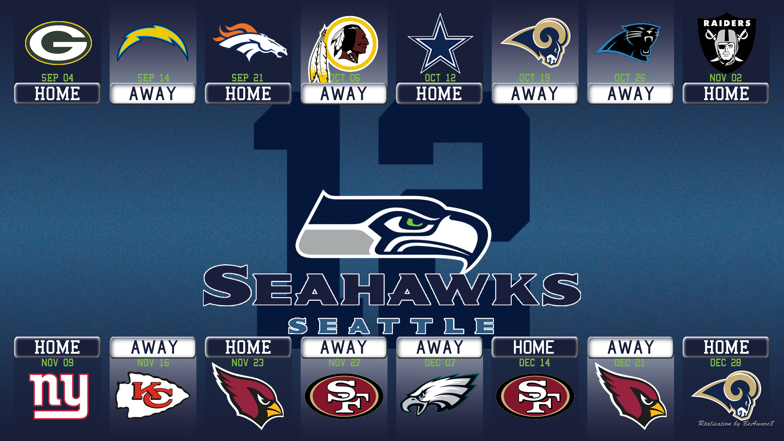 2560x1440 Seattle Seahawks Calandar Saison 2014 by BeAware8