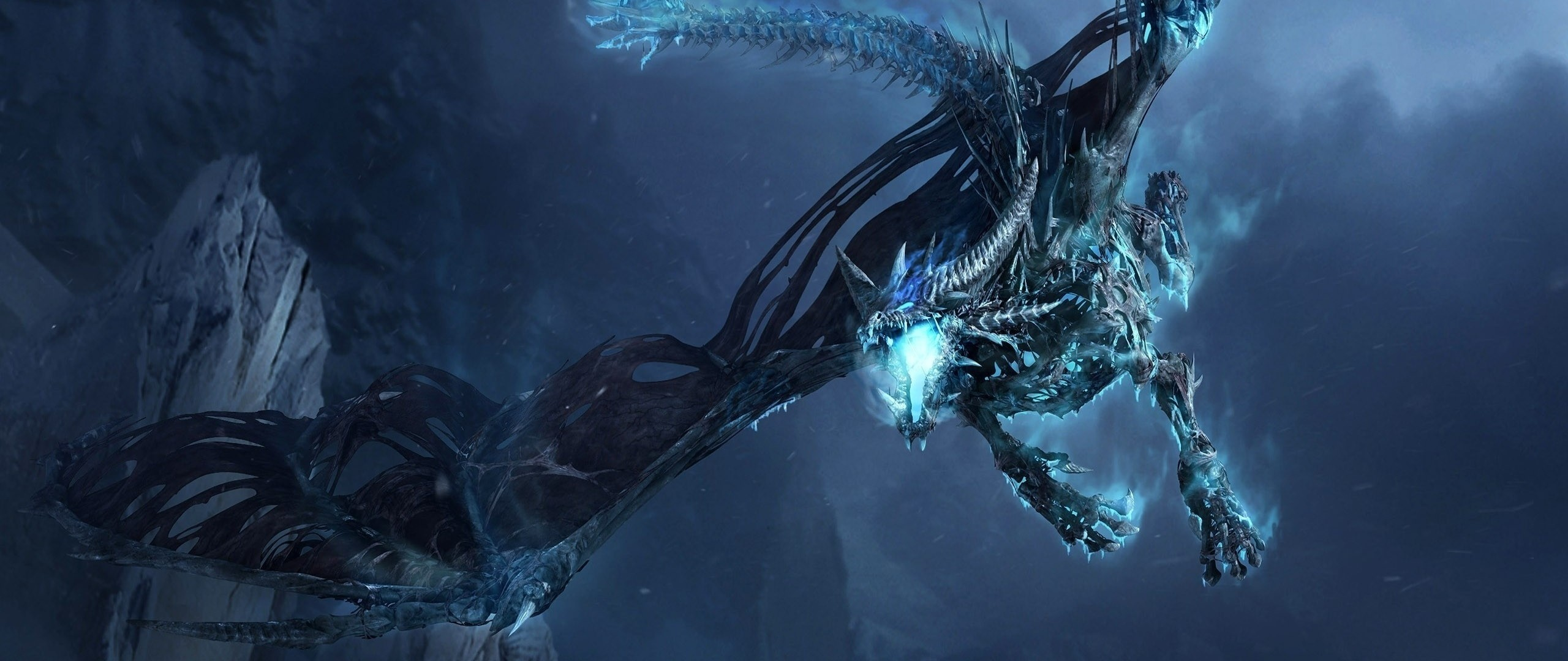 2560x1080 Preview Wallpaper Dragon Fly Jaws Rocks Night