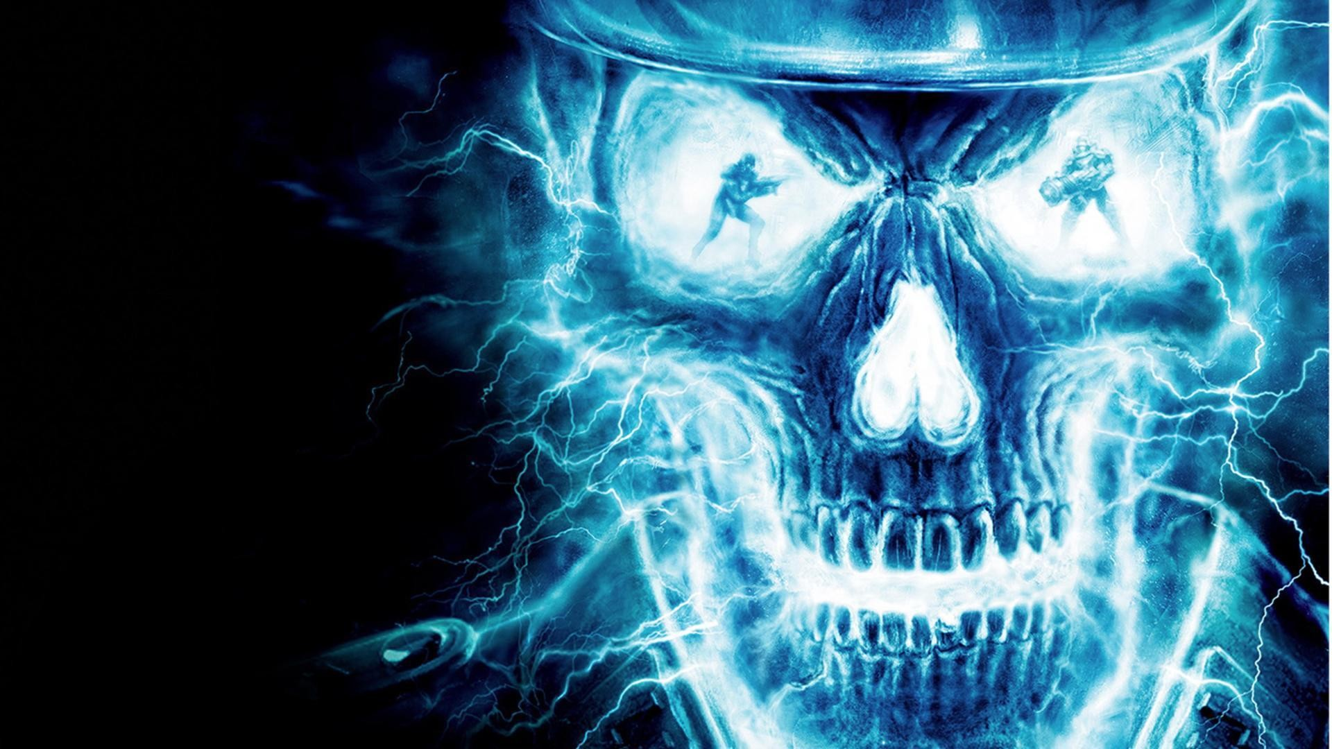 1920x1080 Wallpapers For > Blue Flaming Skull Wallpaper