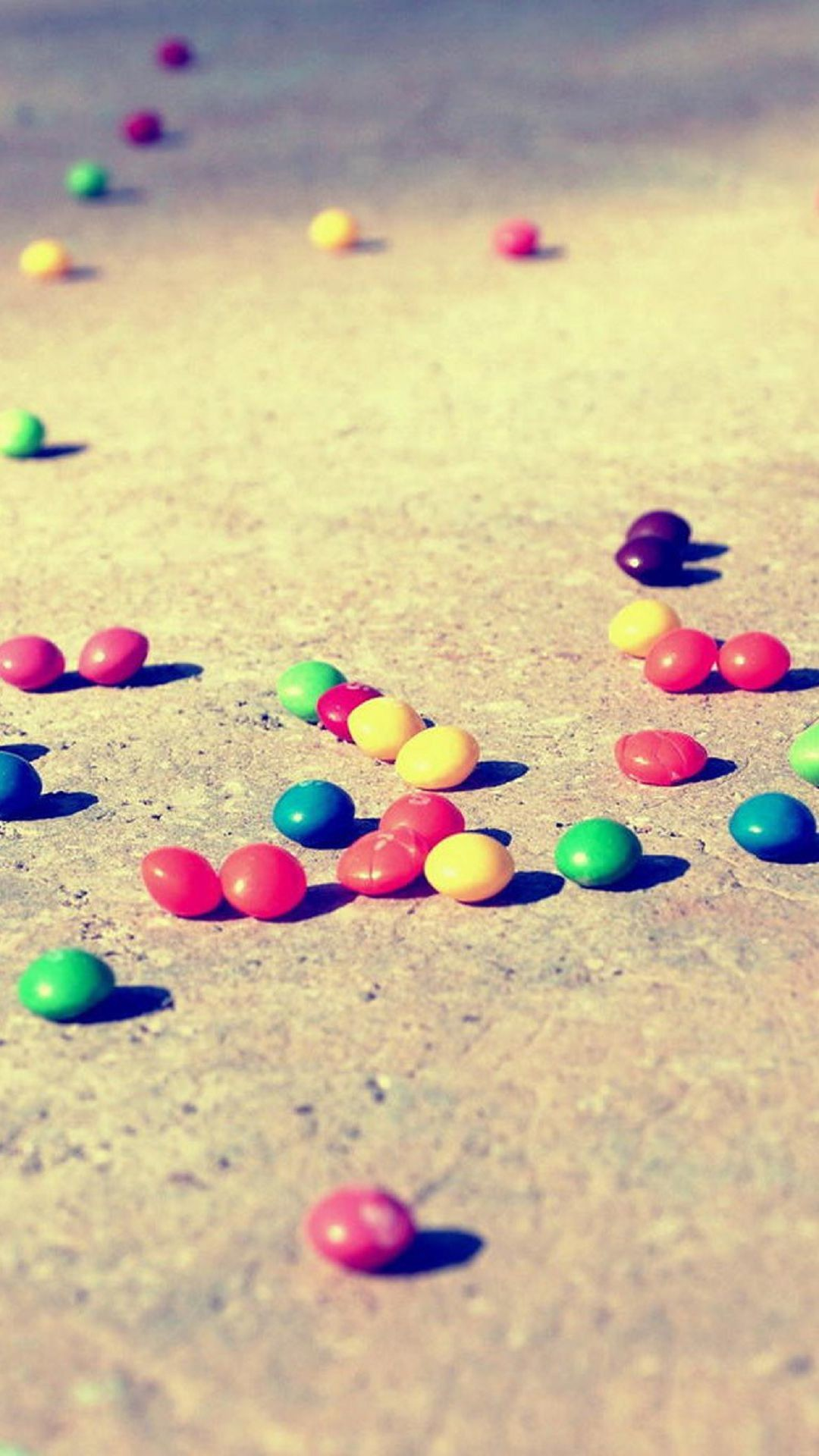 1080x1920 Blurred Candies on the Ground Colorful M&M's. Wallpapers ...