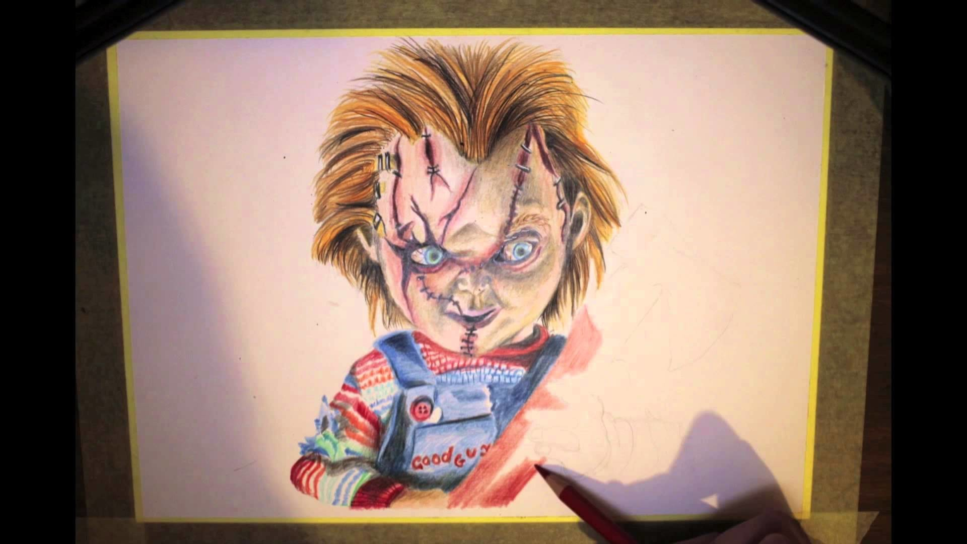 1920x1080 Time-Lapse Coloured Pencil Drawing of Chucky (Static-X Version) - YouTube