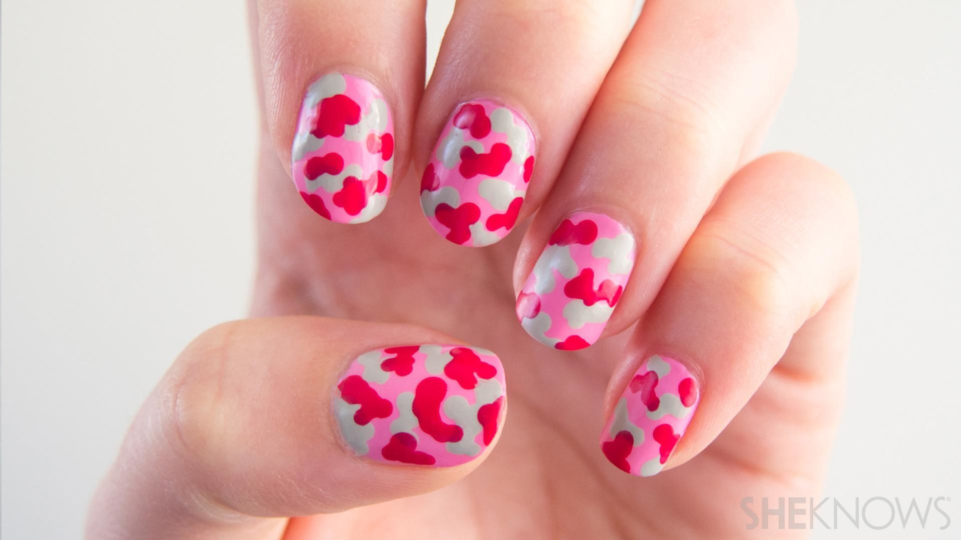 1920x1080 Pink Camo Nail Design Tutorial For Breast Cancer Awareness - Breast cancer  ribbon nail art