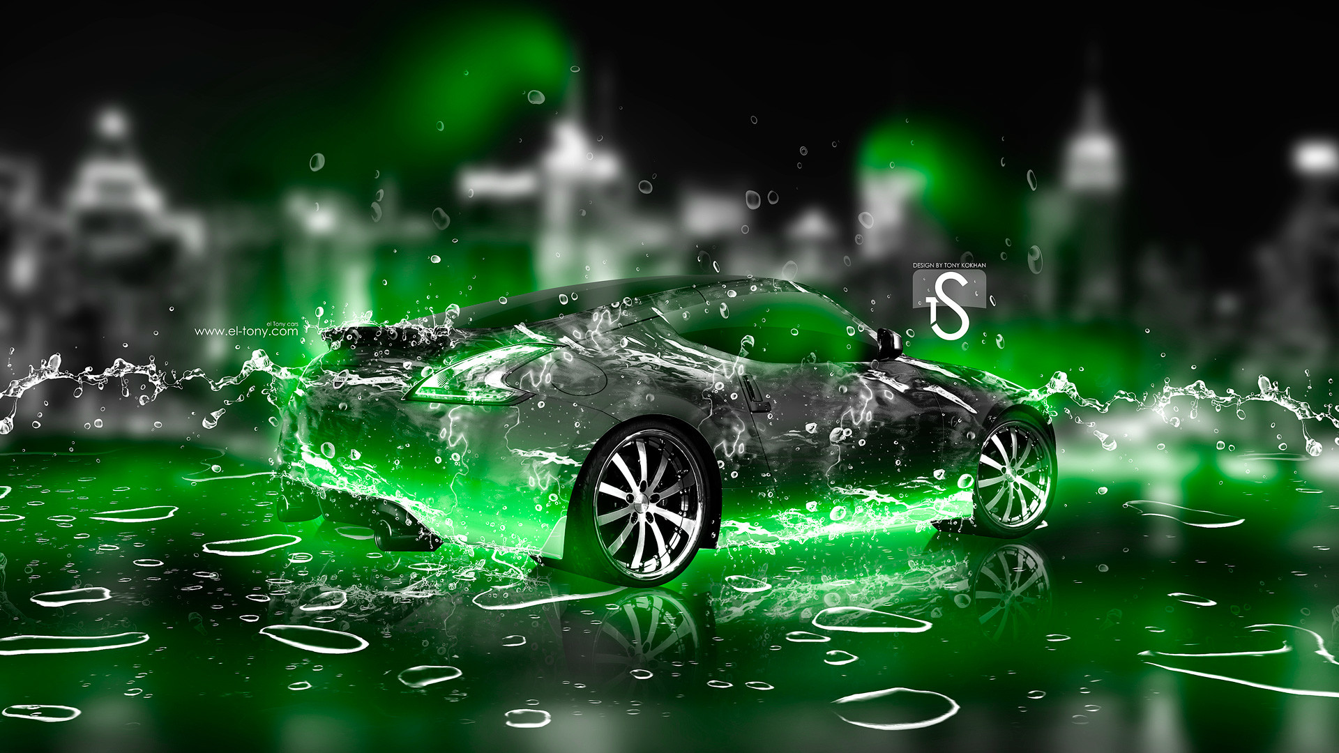 1920x1080 Nissan 370Z Ice Water City Car 2013 Green Neon HD Wallpapers design by