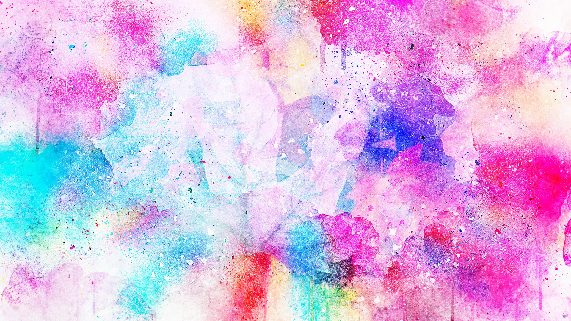1920x1080 Preview wallpaper watercolor, spots, bright, pink