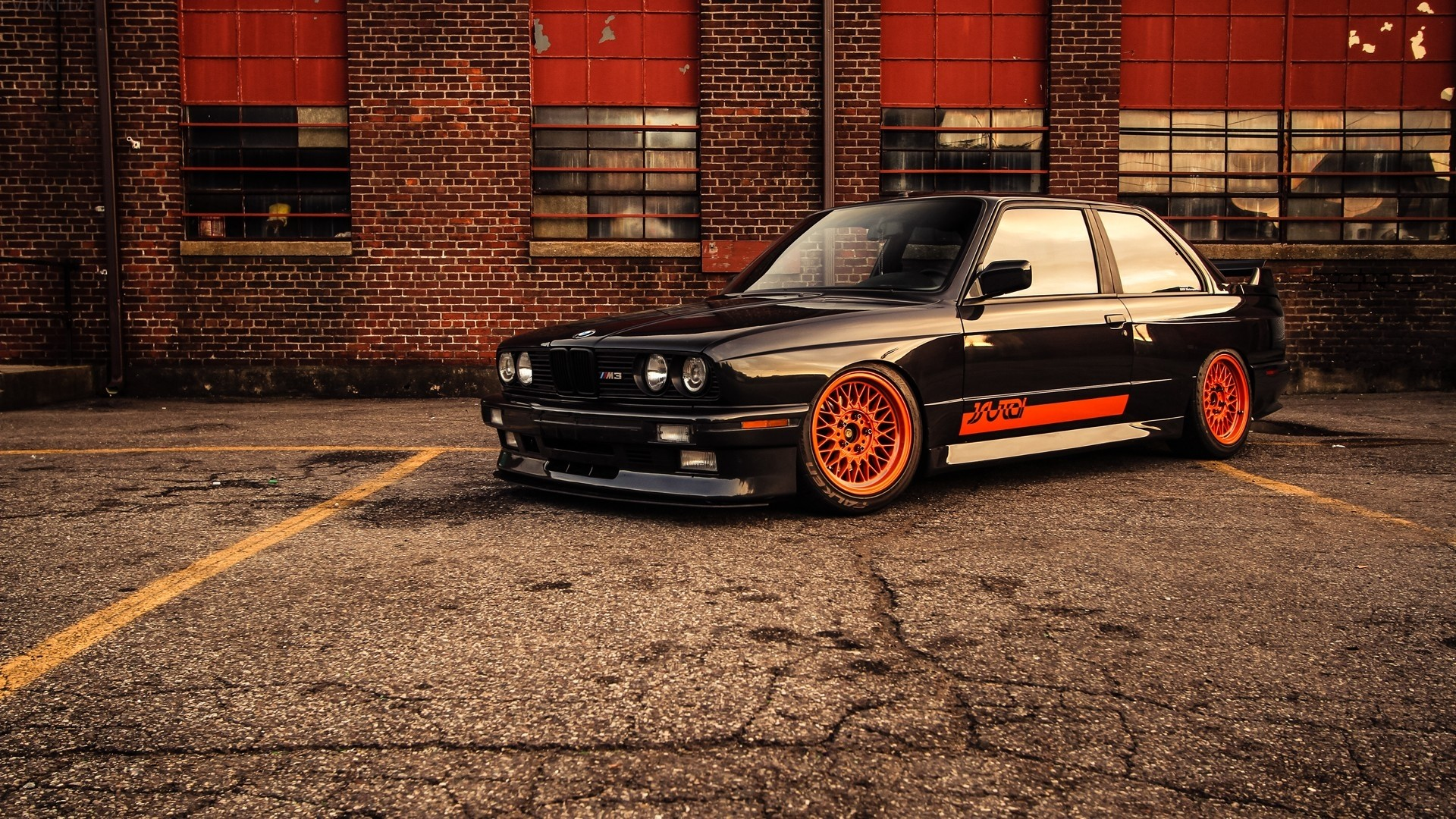1920x1080 Black orange bmw m3 e30 brick building wide hd wallpaper.