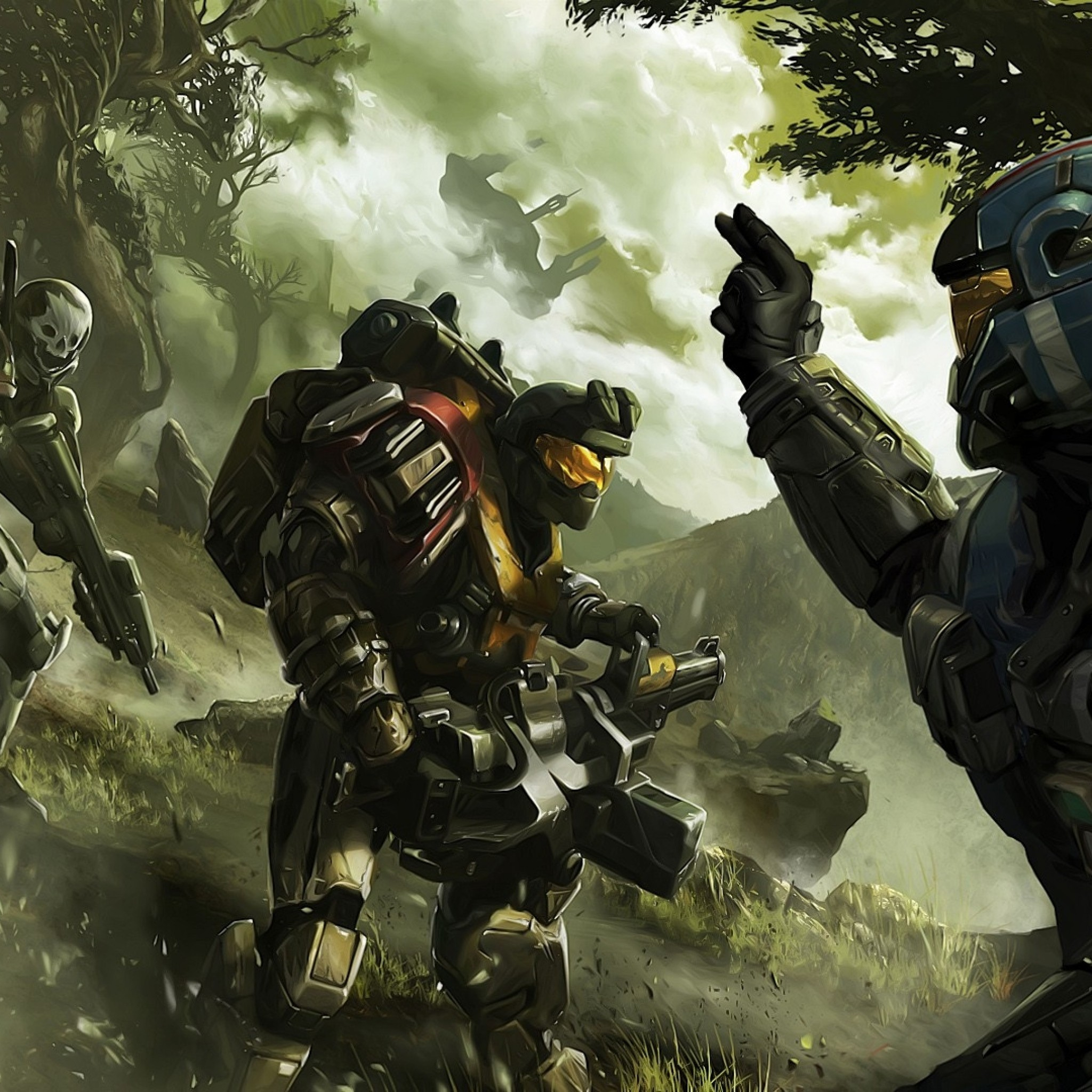 2048x2048 Preview wallpaper halo, soldier, commander, trees
