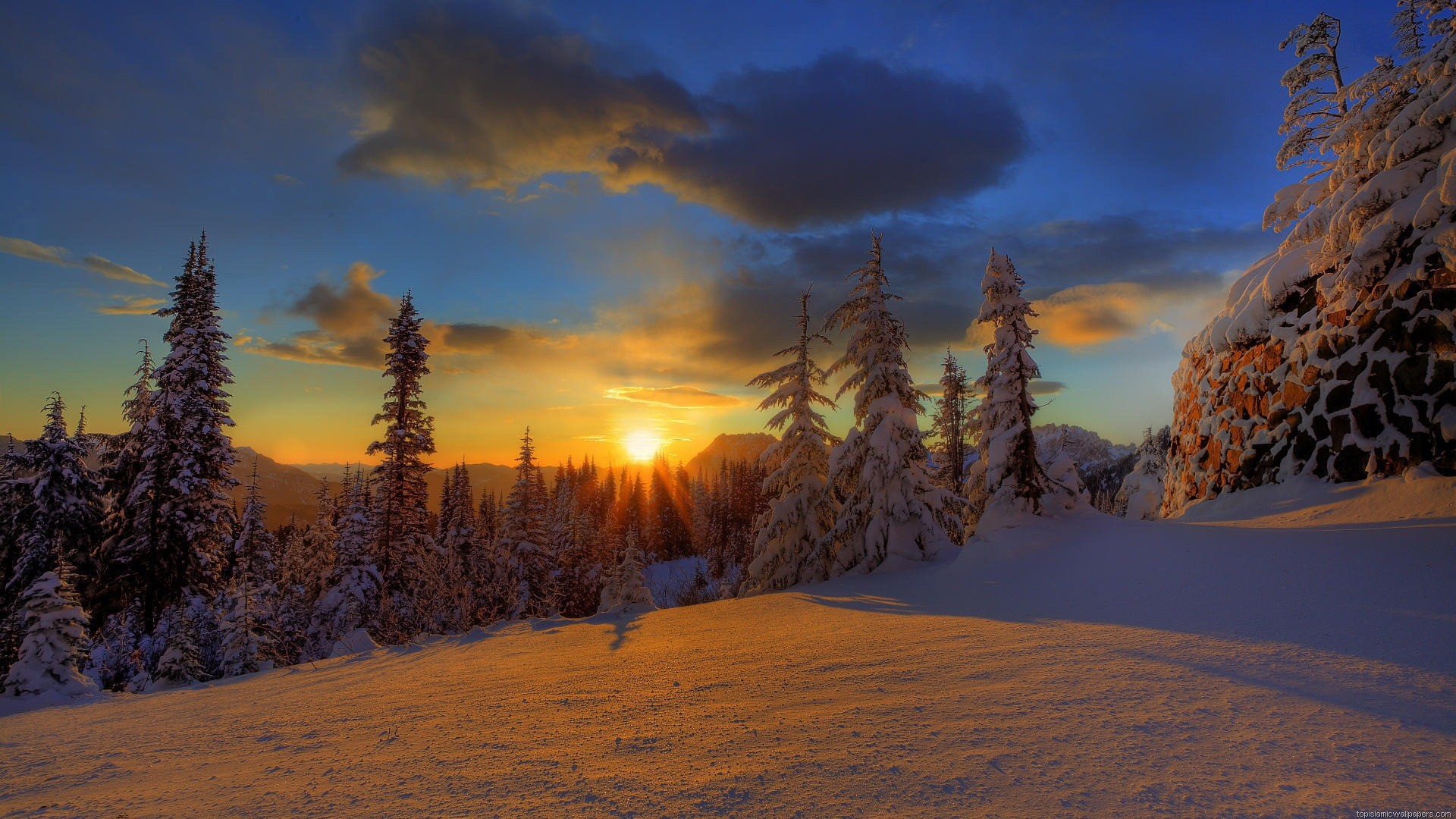 1920x1080 Winter Sunset Wallpapers 1080p with HD Wallpaper Resolution  px  486.71 KB Landscape Nature Dark Mountain