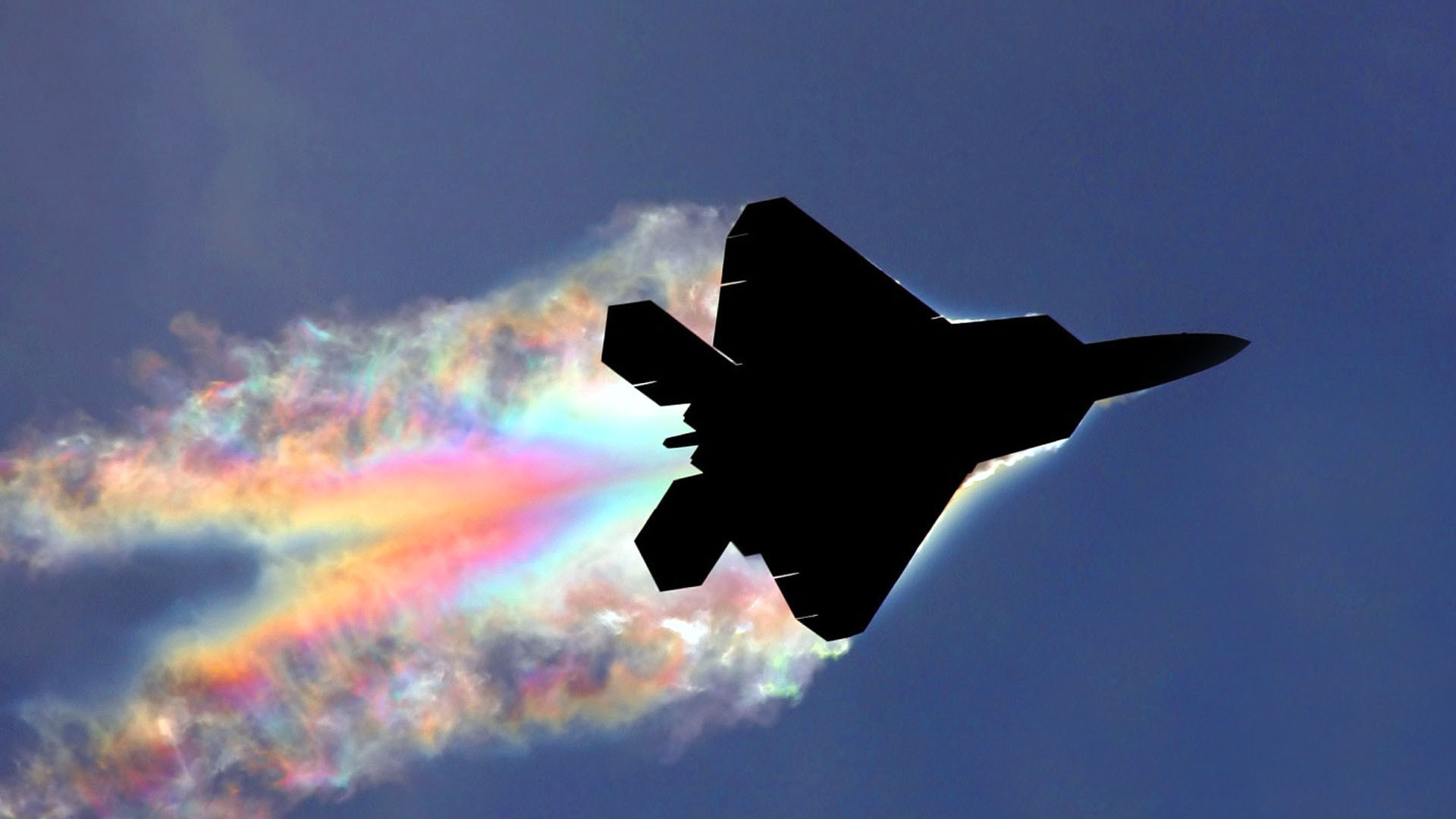 1920x1080 Aircraft Contrails F-22 Raptor Military Planes Rainbows