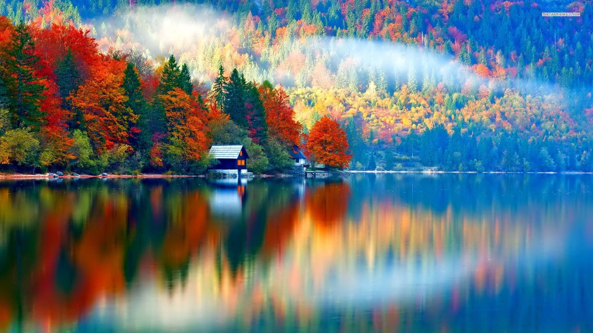 Fall wallpaper 70 images for Lakeview cabin download