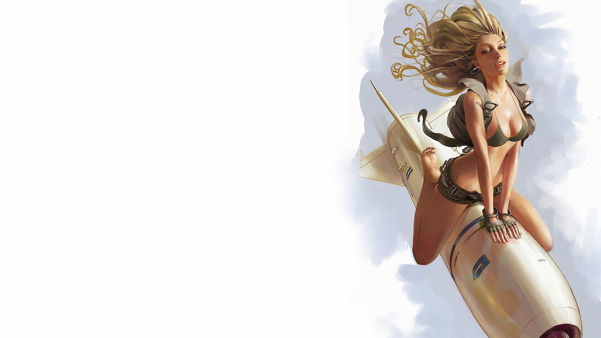 "1920x1080 Downloading ""pinup girl riding a rocket"" Wallpaper Background"