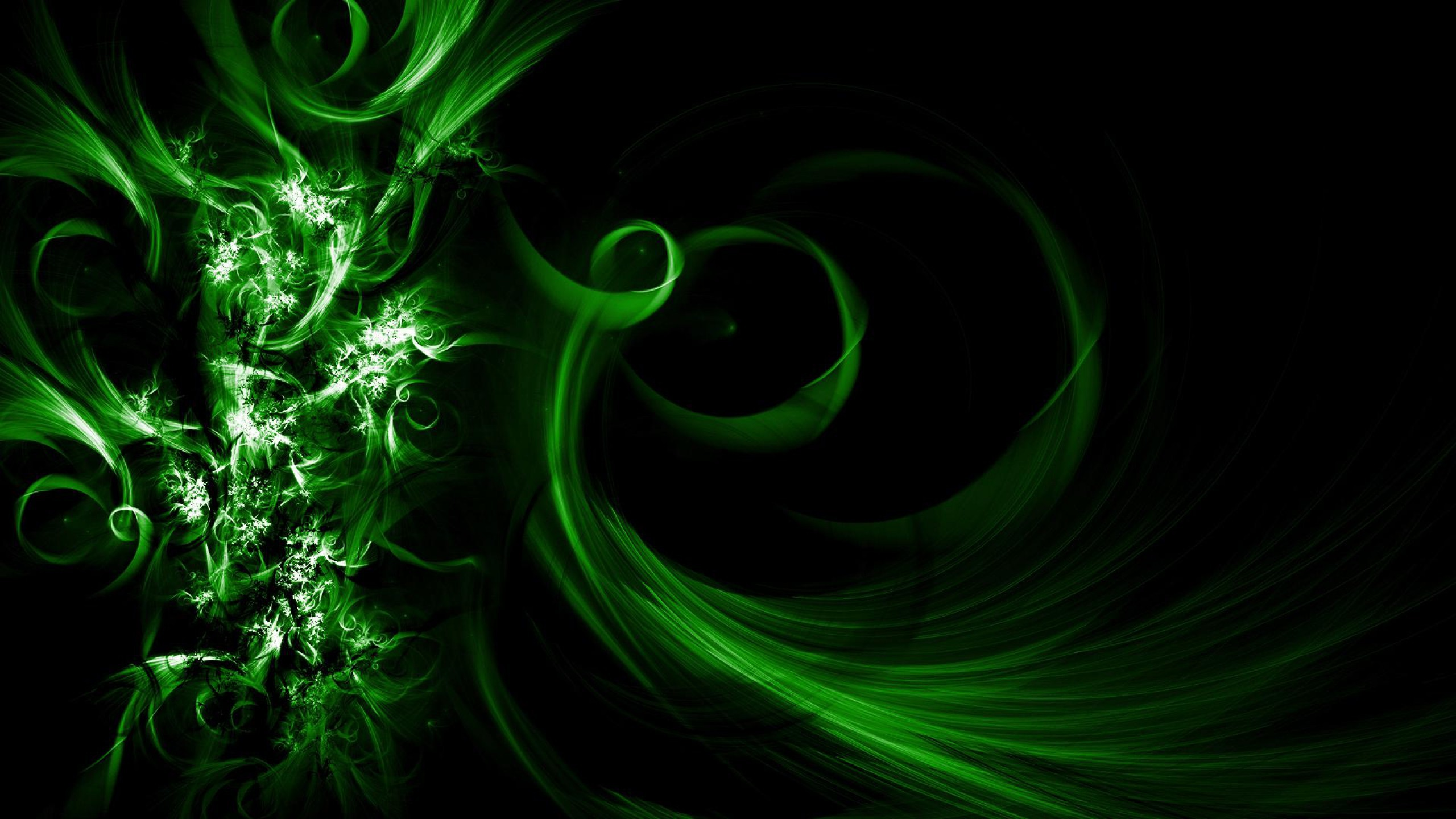 2560x1440 Cool Abstract Wallpaper with an Image of Dark Green Waves - HD Wallpapers  for Free