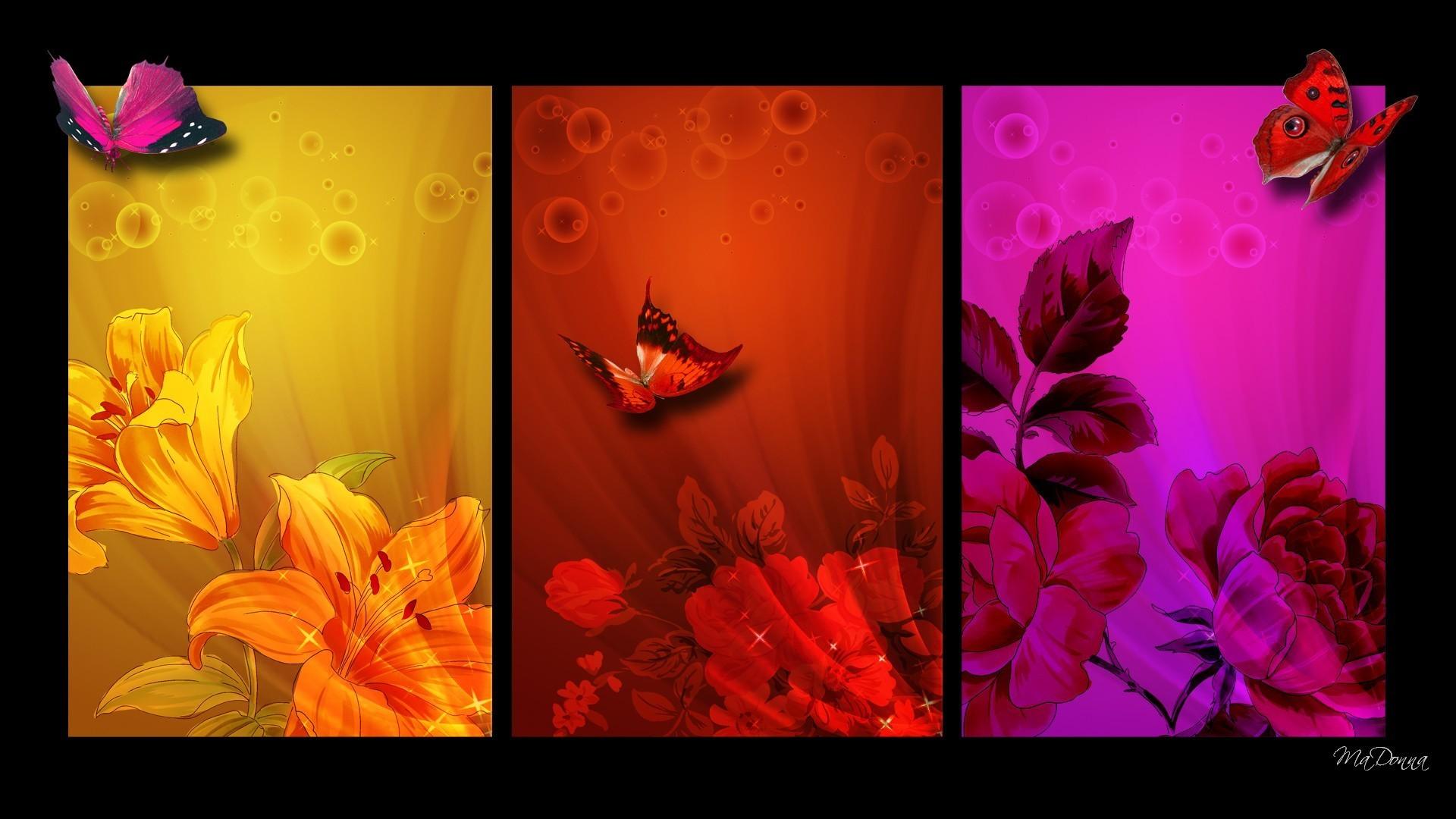 1920x1080 Lilies Roses Summer Pink Spring Red Color Fleurs Gold Blocks Collage Floral  Bright Butterflies Flowers Block Papillon Flower Leaves Orange Wallpaper Hd  Full ...