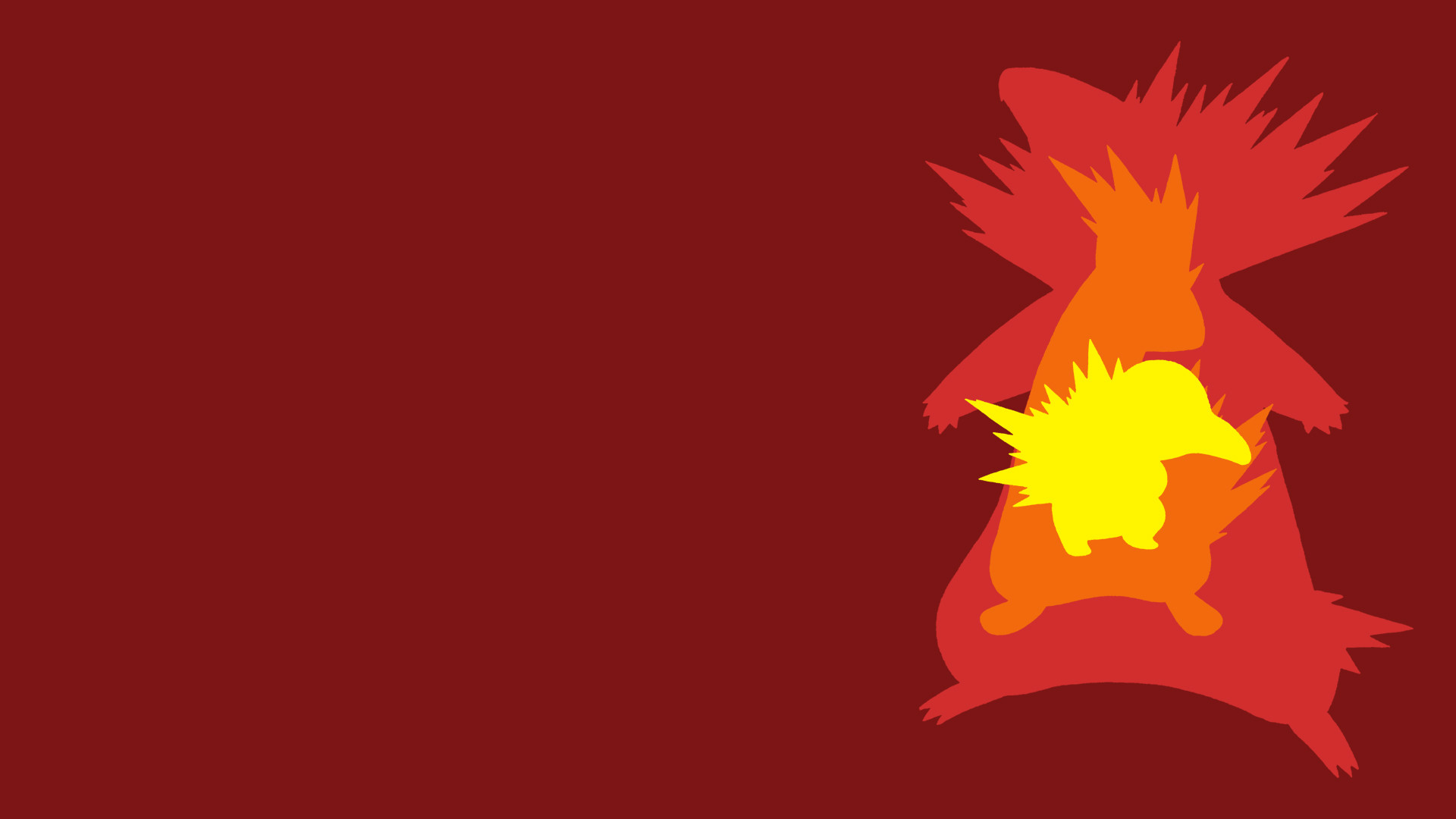 1920x1080 Cyndaquil Evolution Line Minimalist Wallpaper by BrulesCorrupted