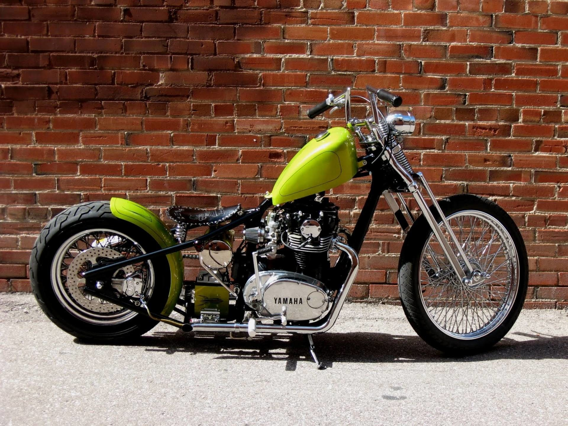 1920x1440 Yamaha Xs650 Lime Green Bobber Motorcycle