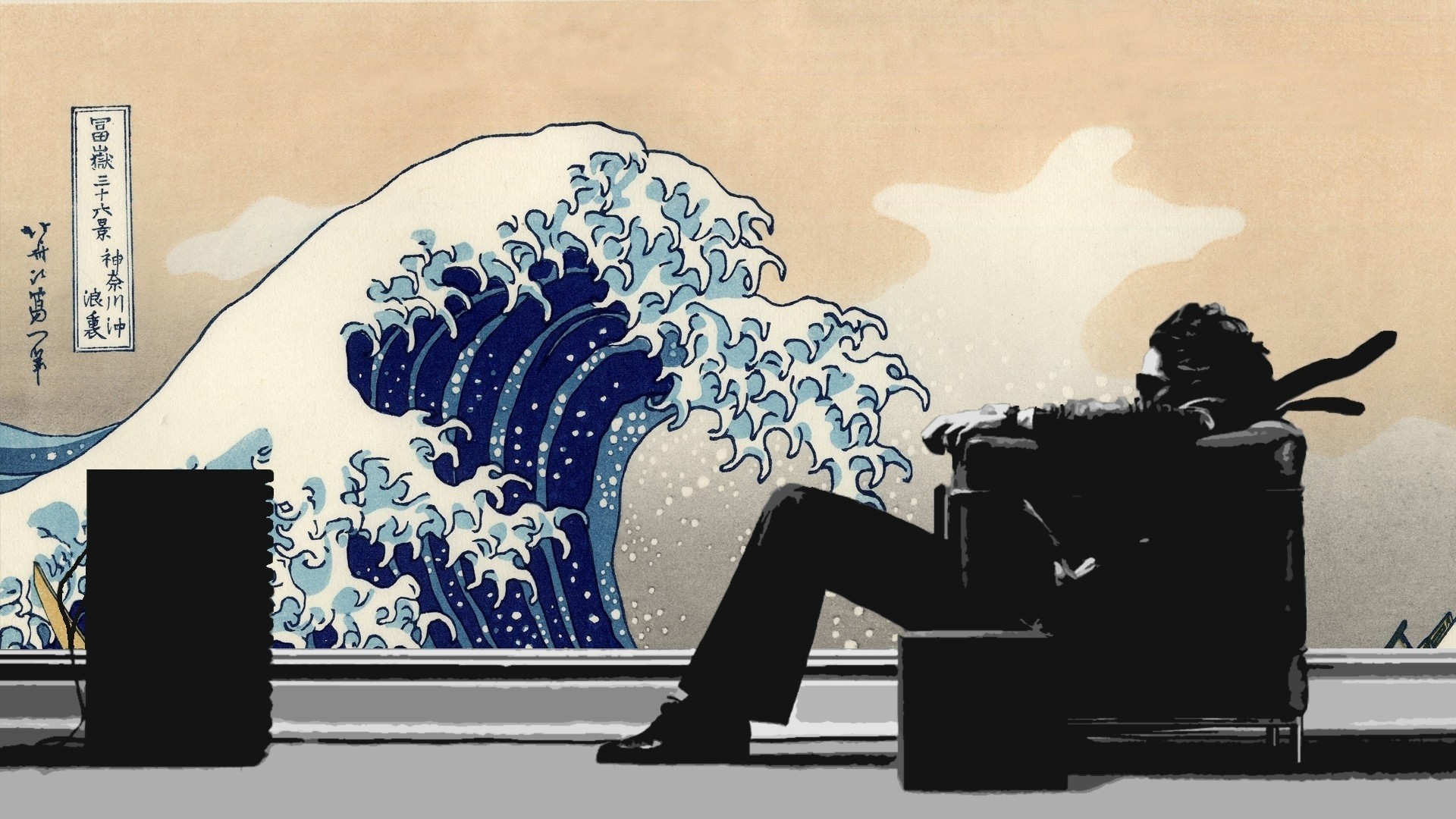1920x1080 music waves men japanese chairs artwork maxell the great wave off kanagawa 1920x1080 wallpaper