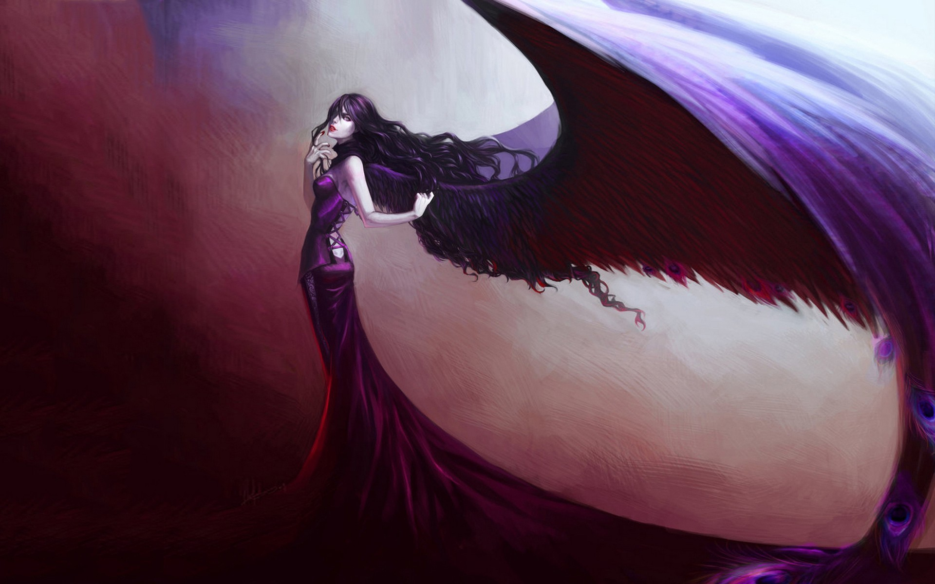 1920x1200 Angel Wings Drawing Brunette Girl Gothic Wallpaper At Dark Wallpapers