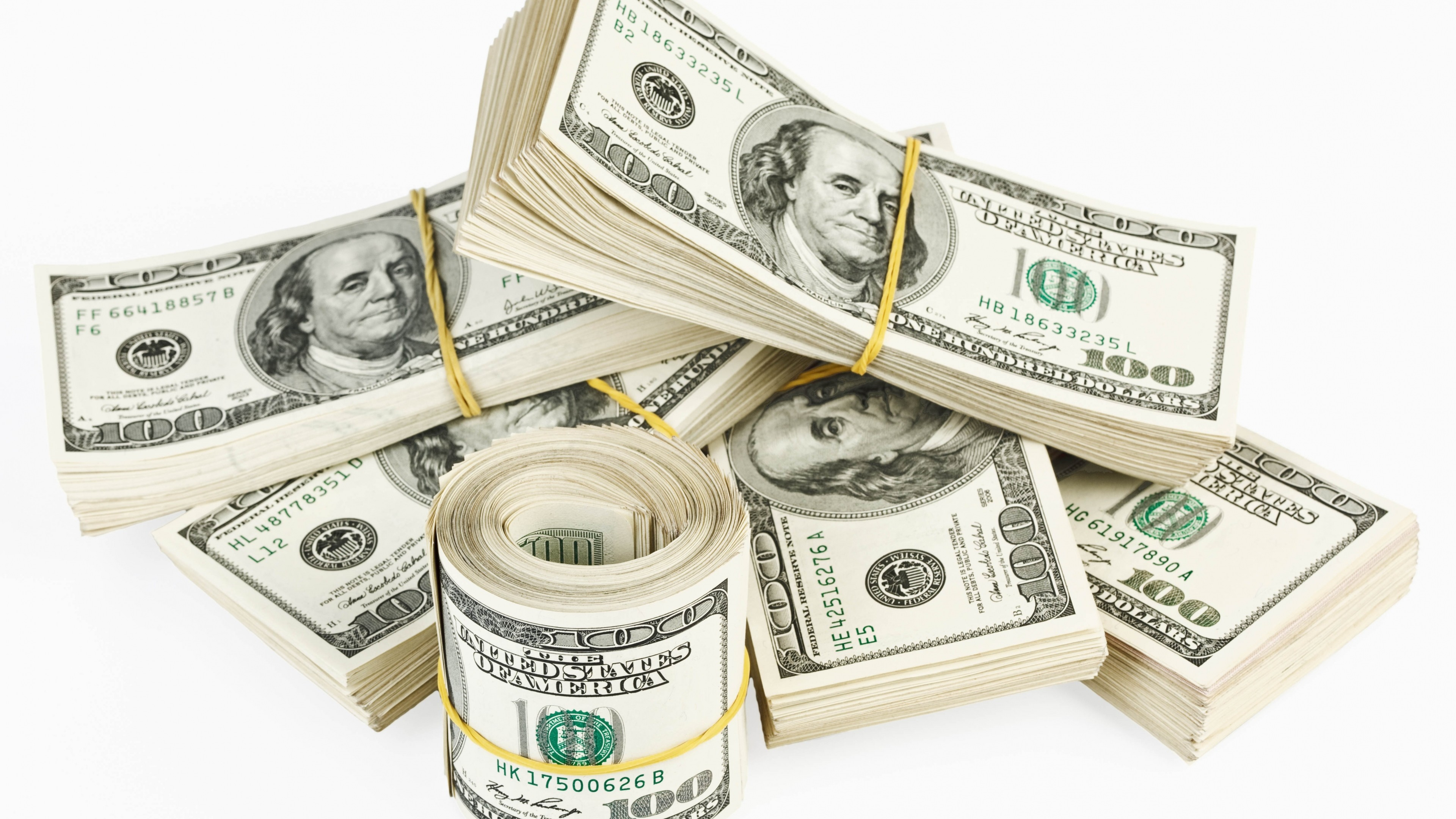 3840x2160 Preview wallpaper dollar, money, pack, white background