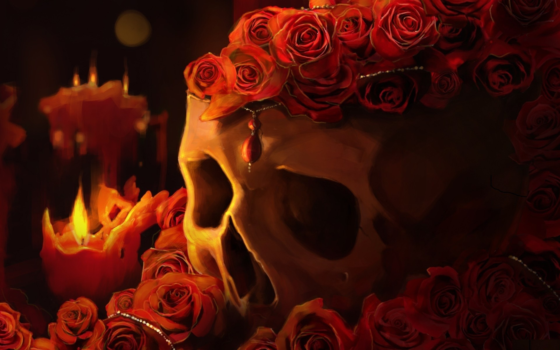 1920x1200 Skulls Roses Candles Fantasy Candle Skull Goth Gothic Fire Dark Wallpaper  At Dark Wallpapers