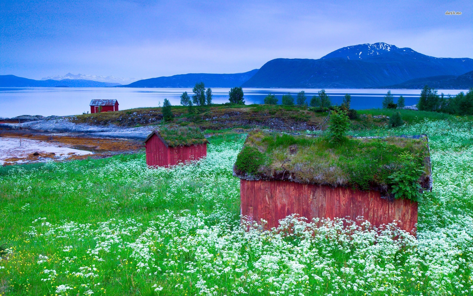 1920x1200 small-lakeside-red-houses-wallpaper