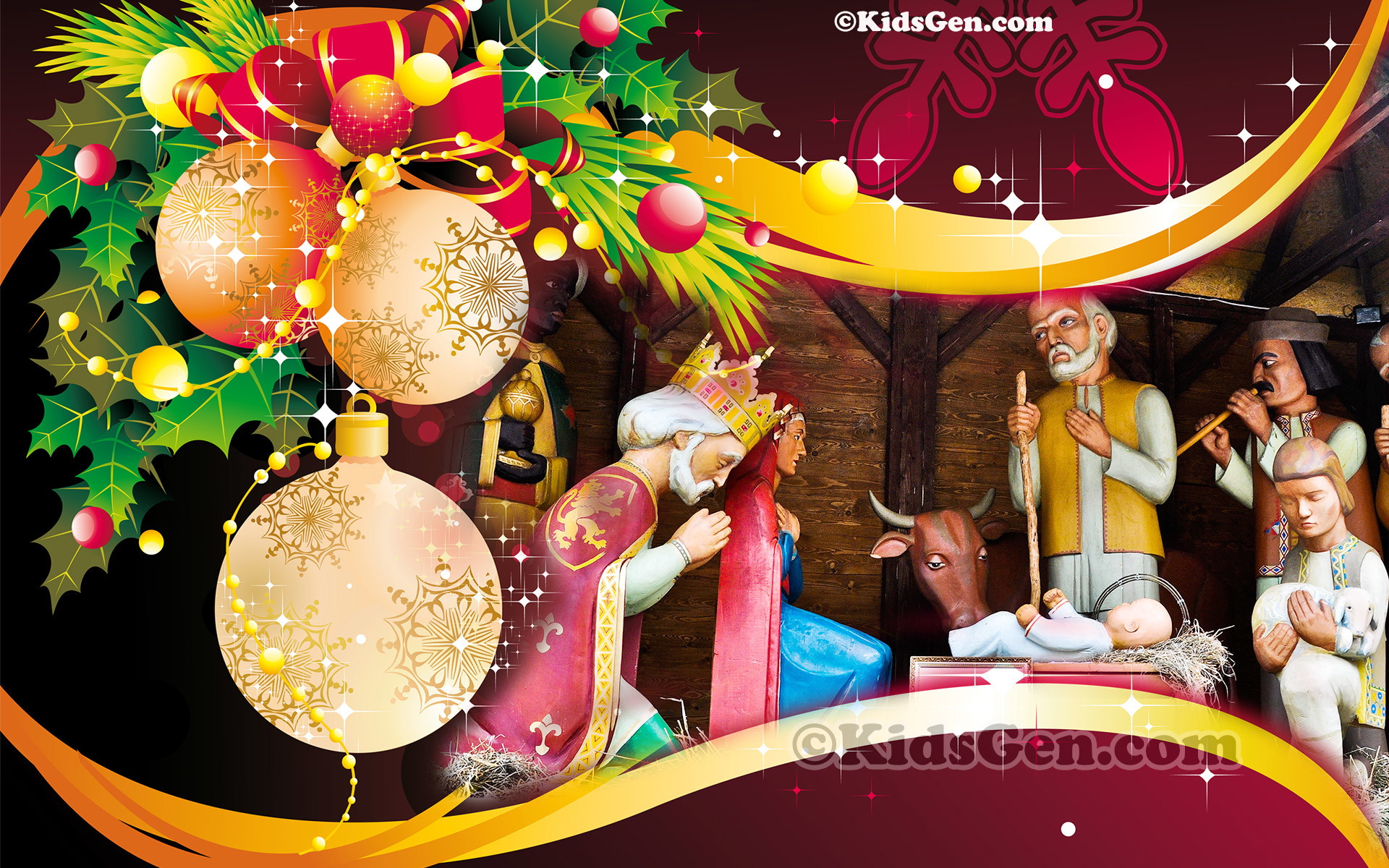 1920x1200 A wonderful high definition wallpaper of Christmas decoration featuring  birth of Jesus Christ.