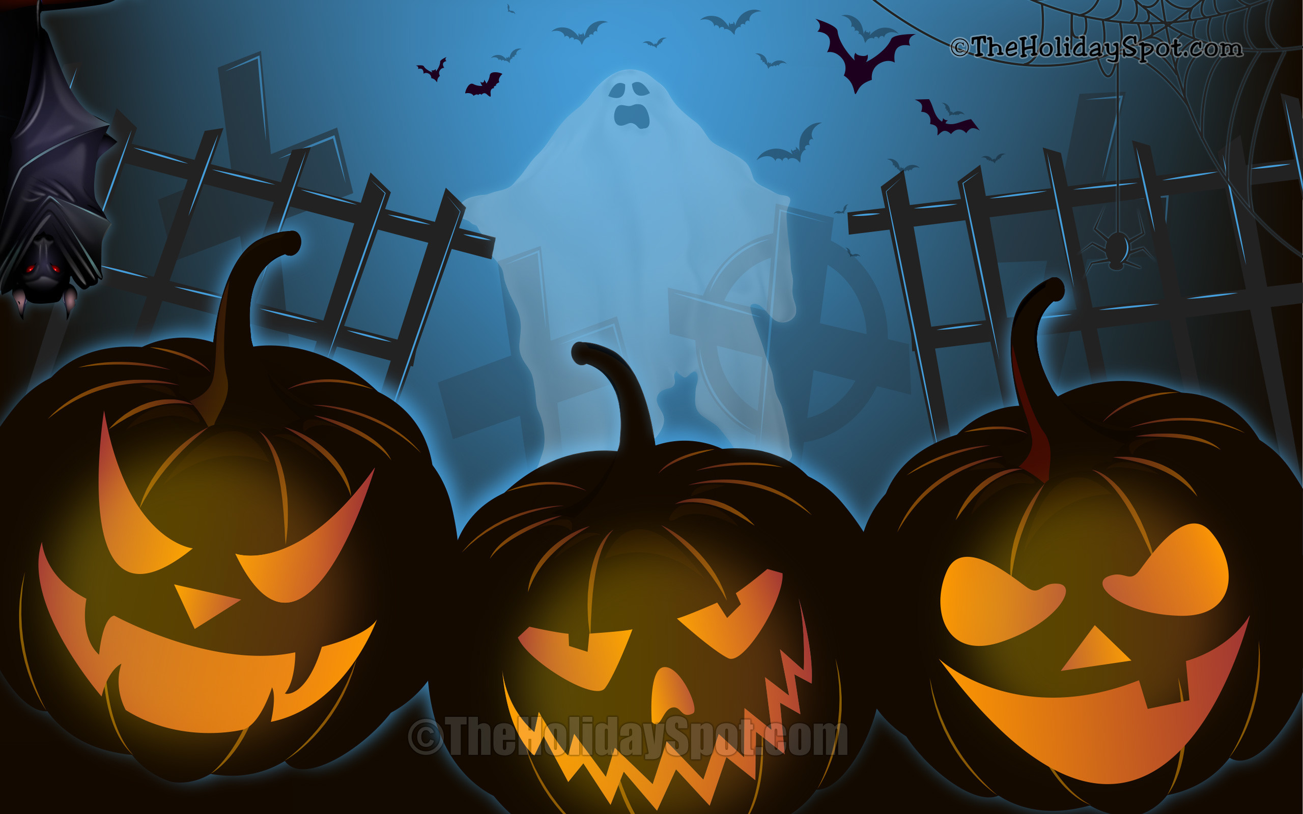 2560x1600 Wallpaper - Halloween Night with bat, pumpkins and ghost