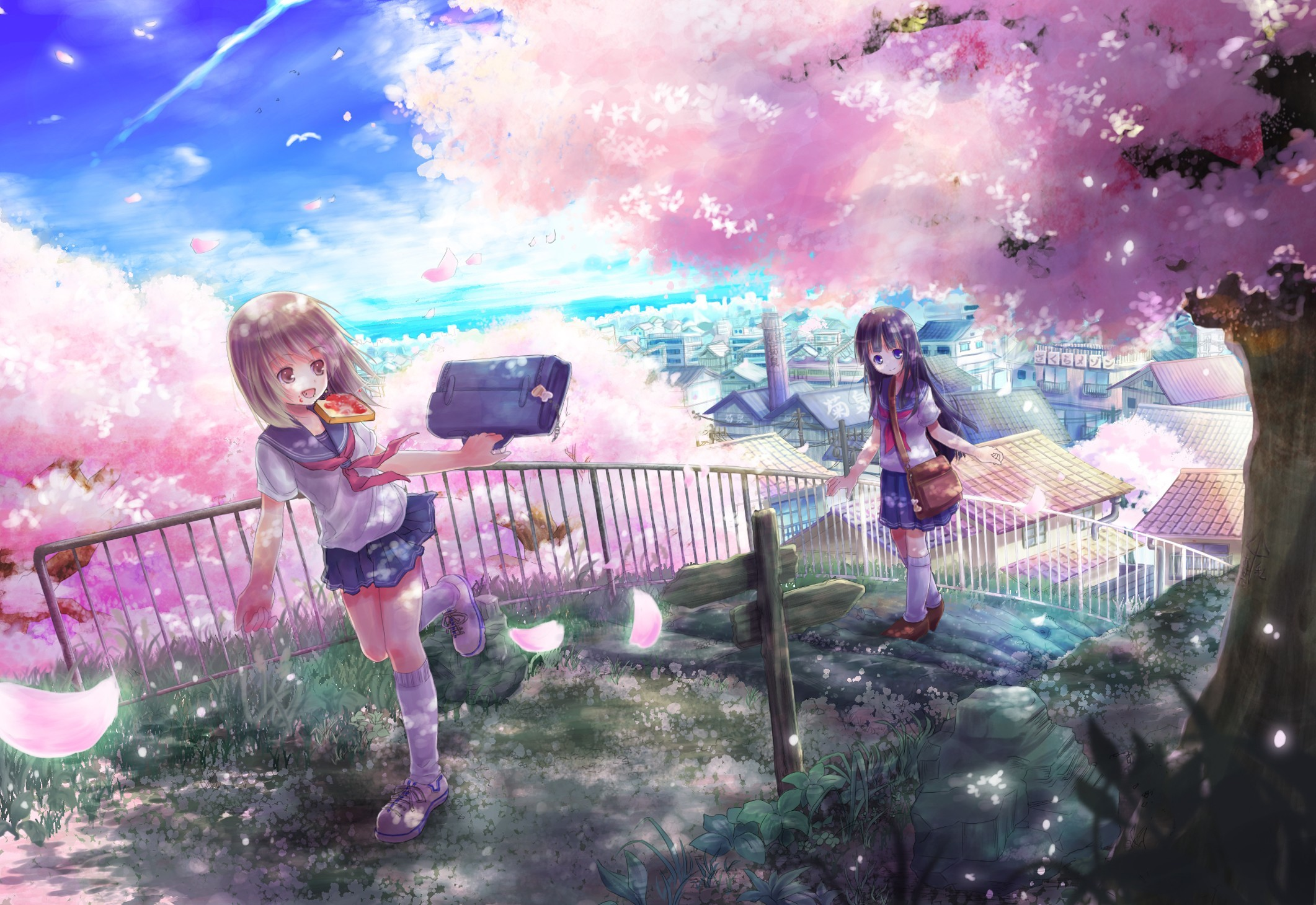 2122x1460 Anime Girls Bags Black Hair Bread Brown Eyes Brunettes Cherry Blossoms  Cityscapes Flowers Long School Uniforms Short Socks