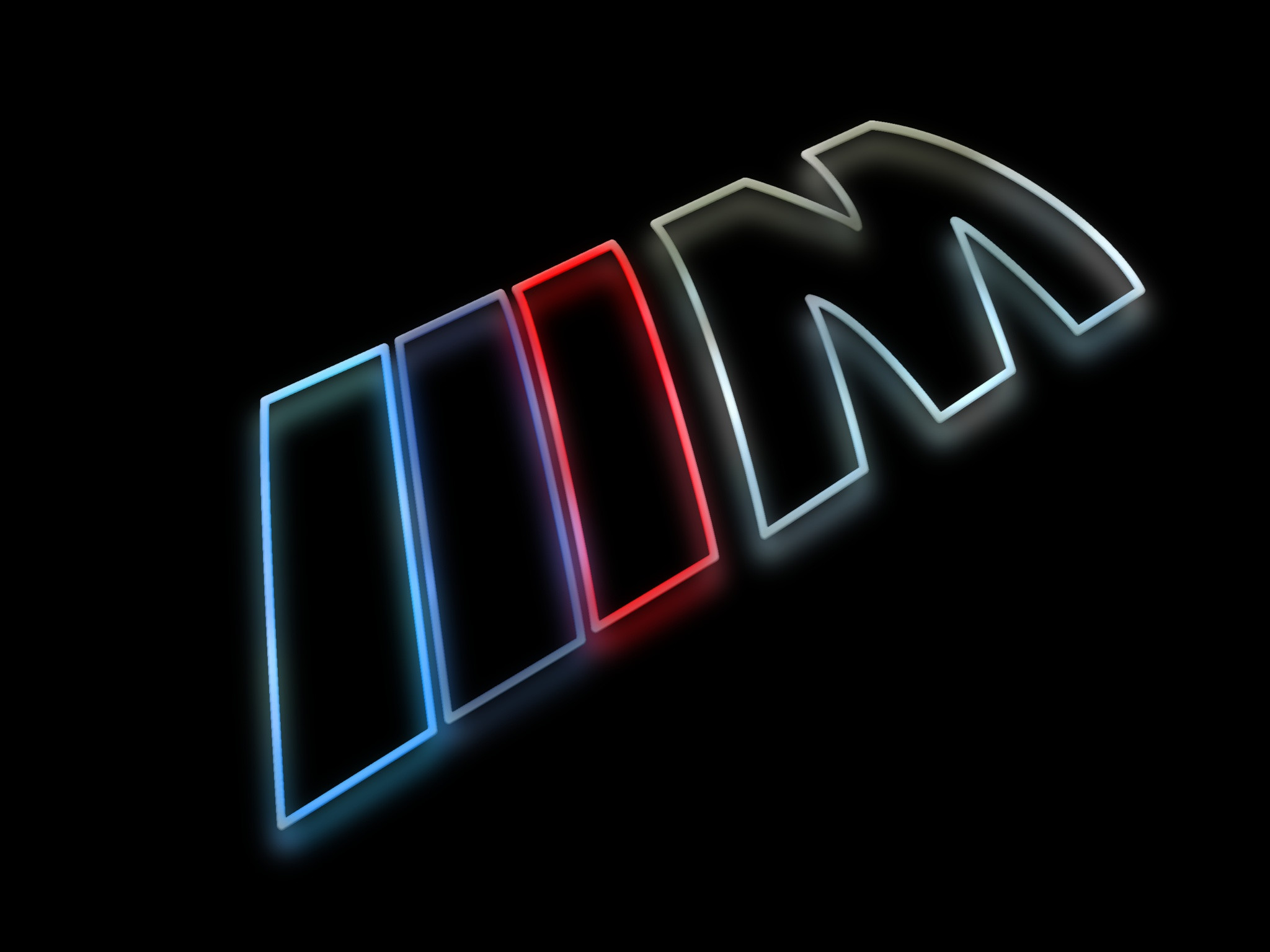 2048x1536 BMW M Logo as a colorful silhouette rendering with a glow against a shiny  black surface