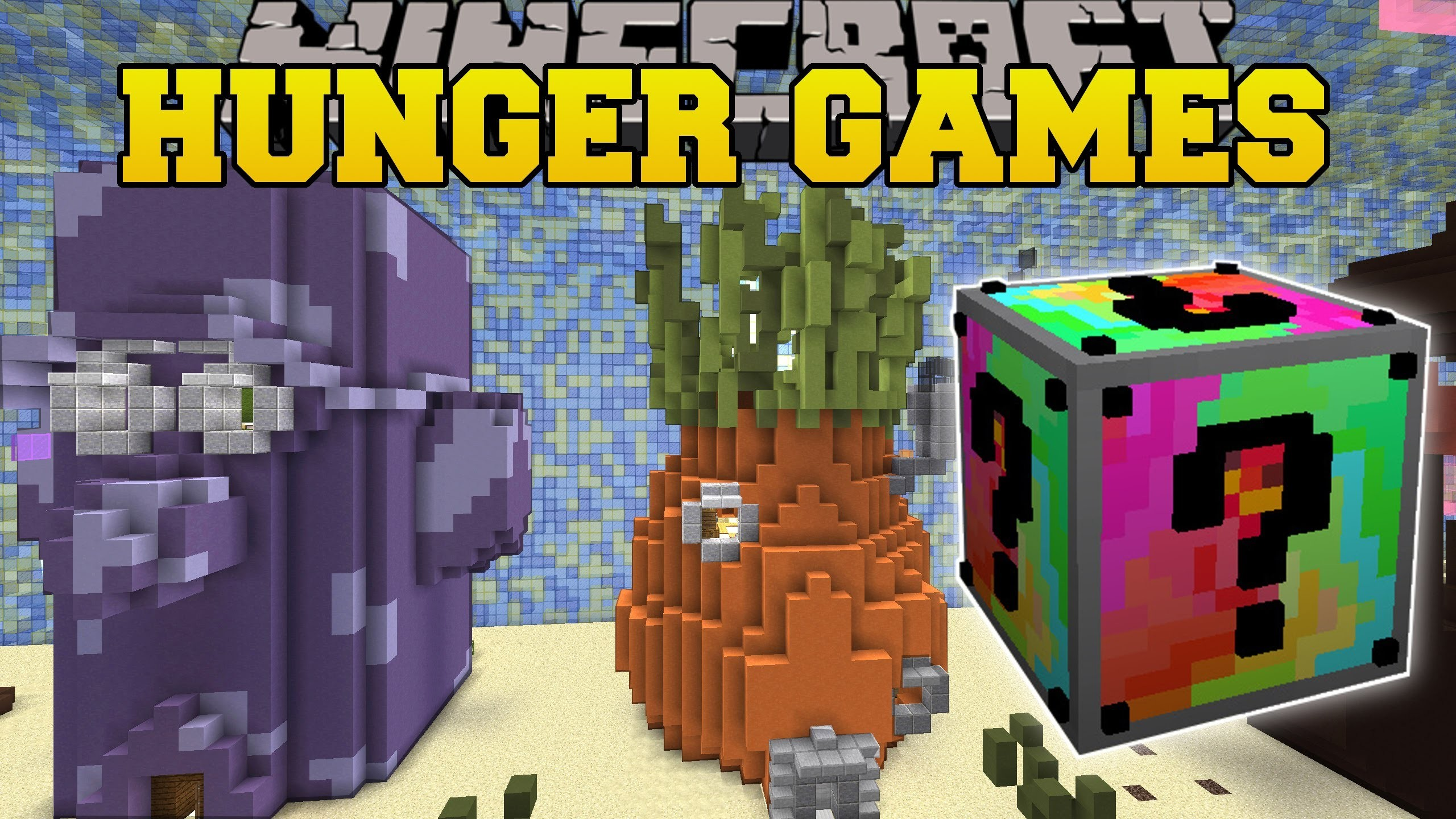 2560x1440 Pat And JEN PopularMMOs | Minecraft SPONGE BOB HUNGER GAMES.