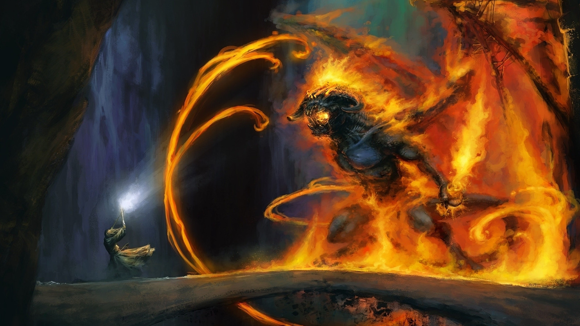 1920x1080 Gandalf and the Balrog