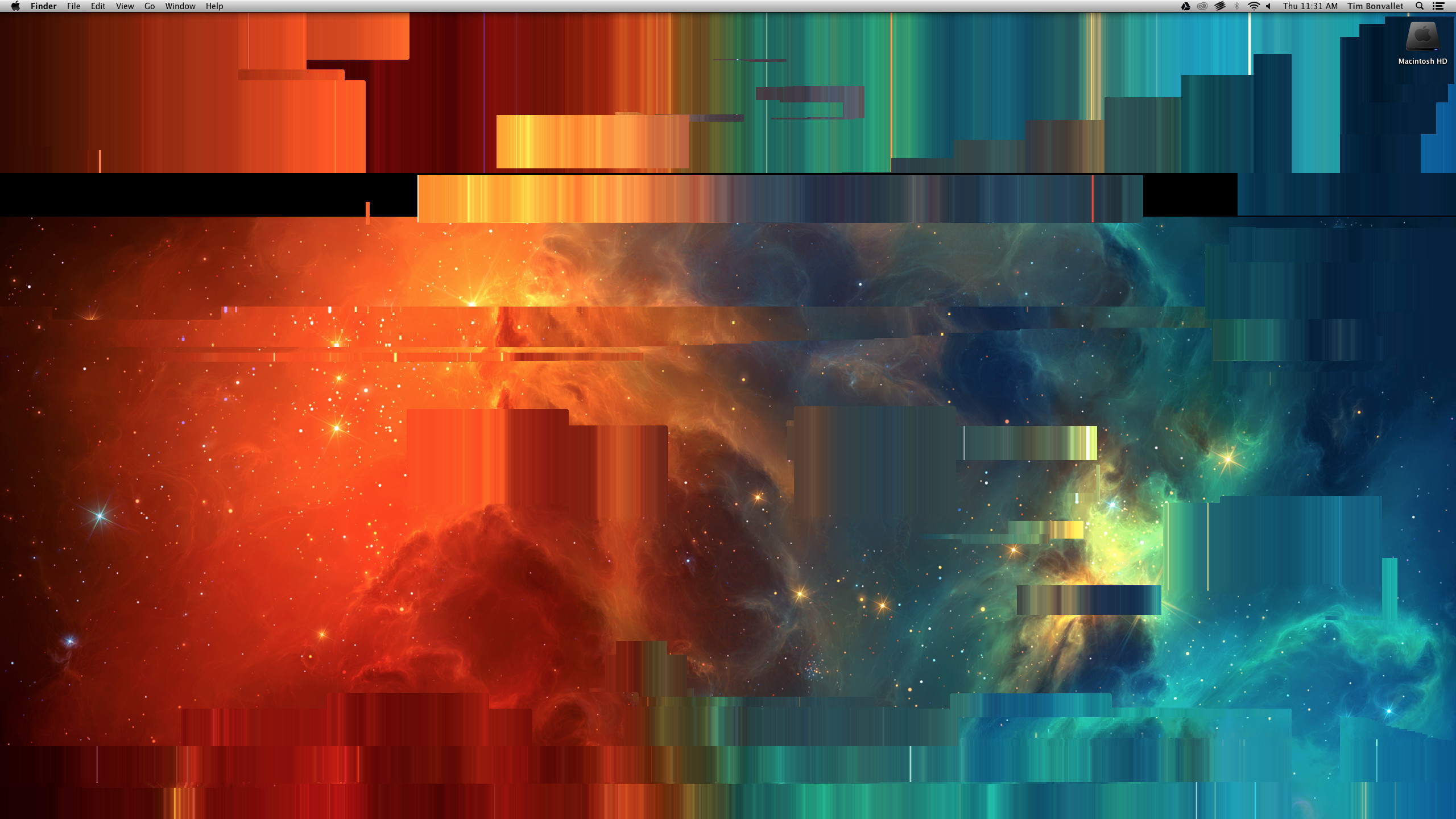2560x1440 Glitch found in OSX. In Desktop Background options, tile a small image,  then switch to an image larger than the display's resolution.