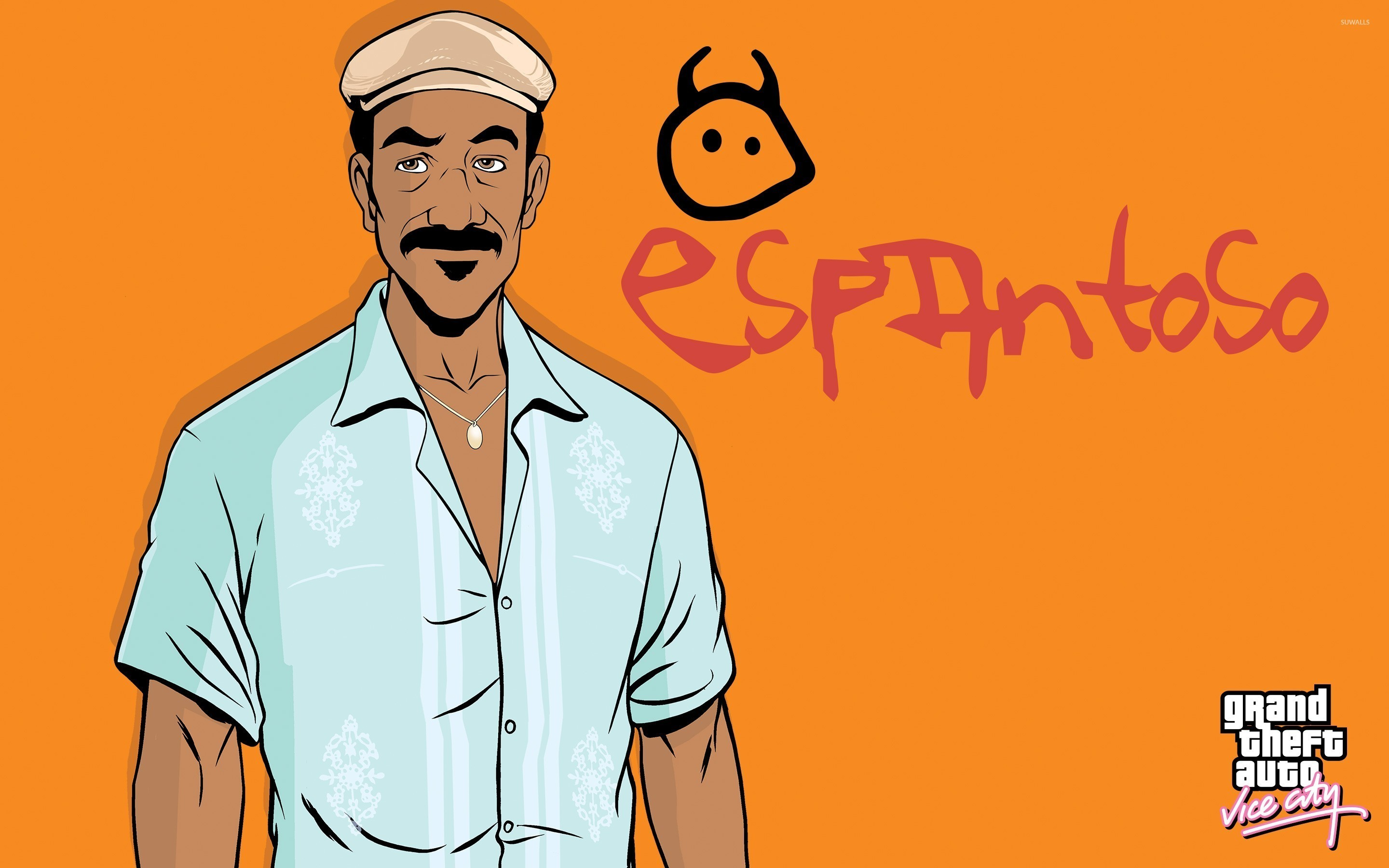 2880x1800 Vice City character in front of Radio Espantoso logo wallpaper