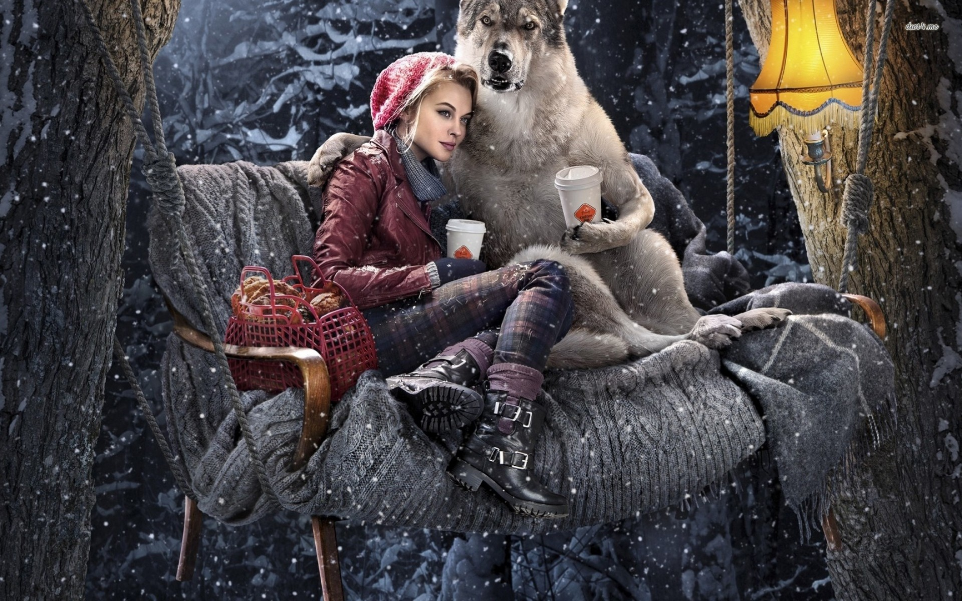 1920x1200 ... Wolf & girl on the couch wallpaper  ...