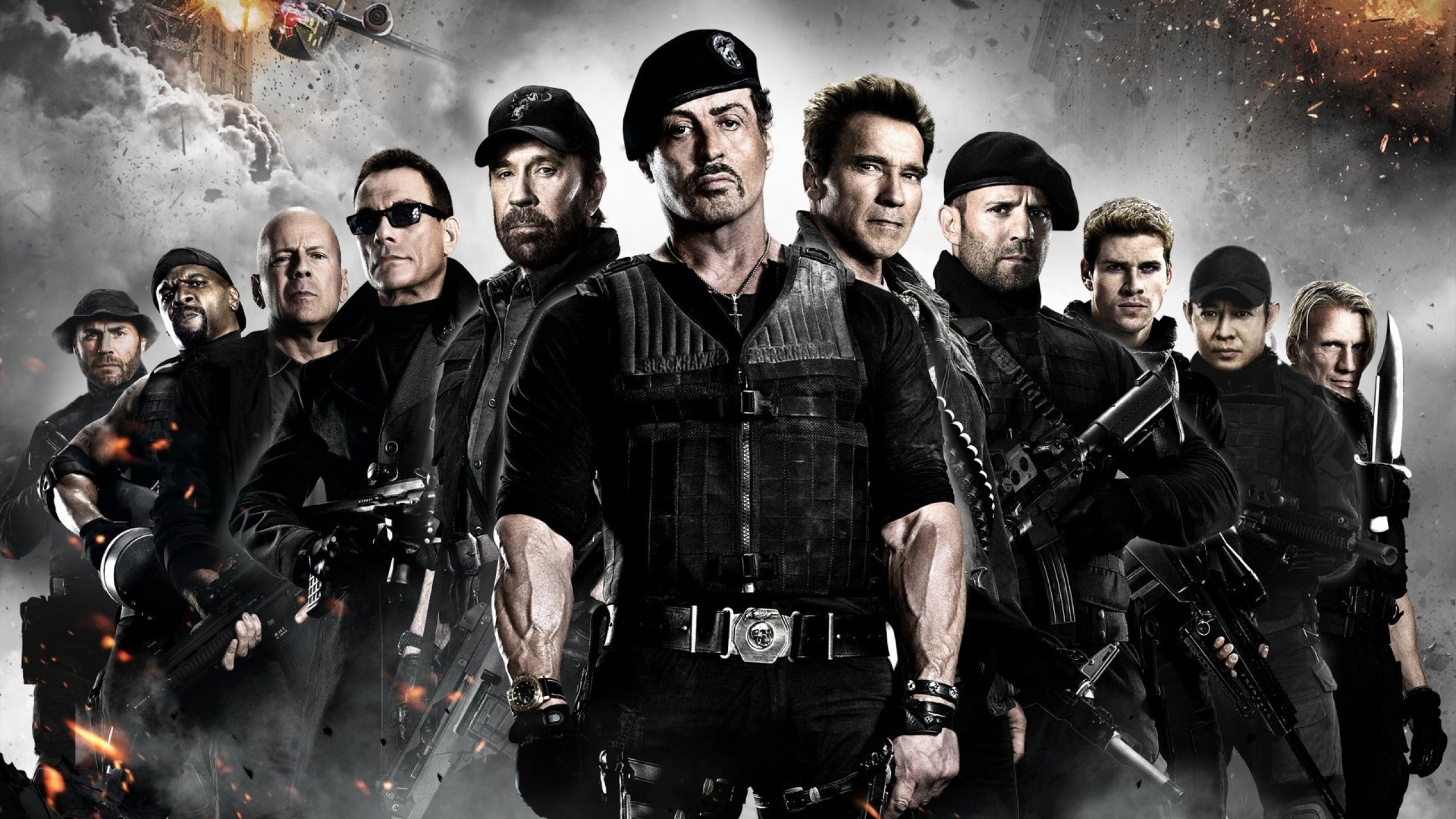 2560x1440 chuck norris jason statham bruce willis sylvester stallone van damme  expendables 2 1920x1080 wall Art HD