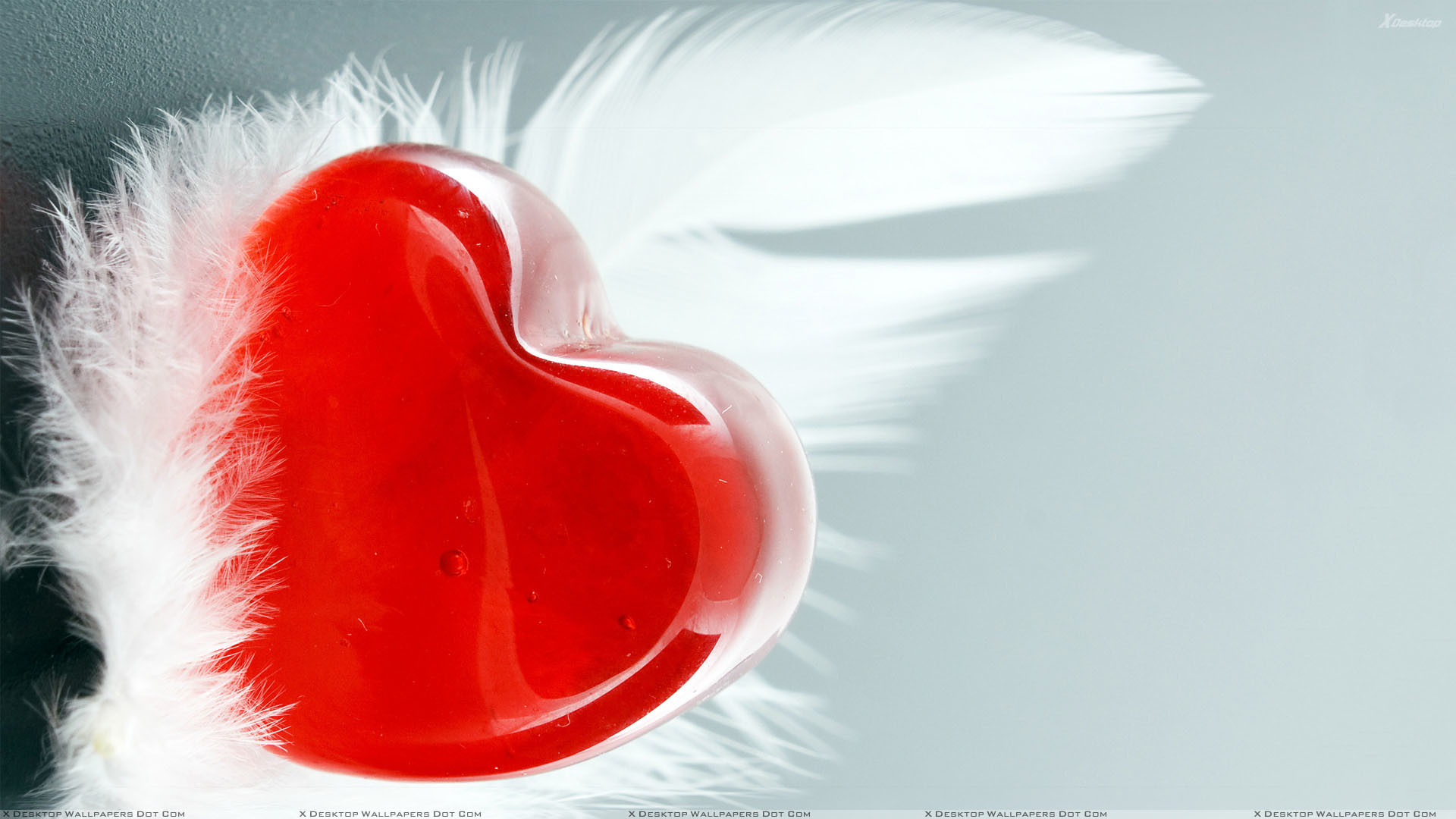 "1920x1080 You are viewing wallpaper titled ""Feather And Red Heart"" ..."
