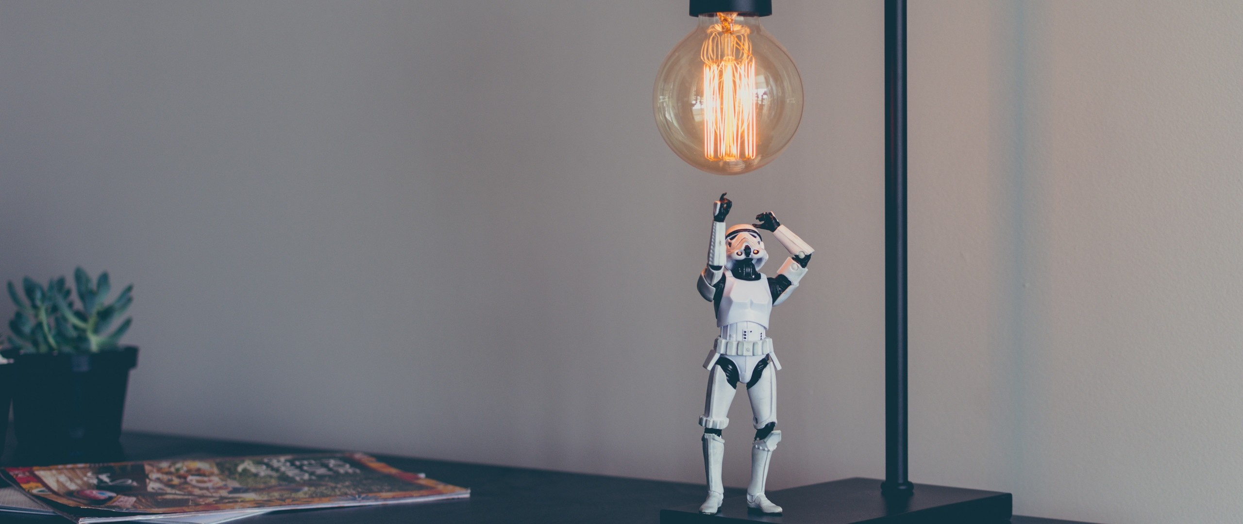 2560x1080 Preview wallpaper stormtrooper, star wars, lamp, toy