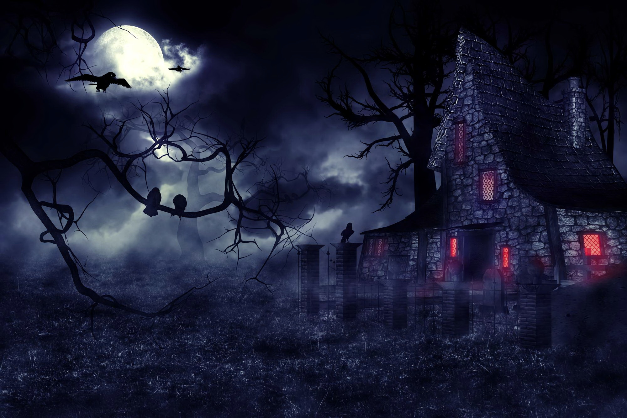 2000x1333 Dark House Haunted House Creepy Night Moon Tree Raven HD Wallpaper - HD  Wallpapers
