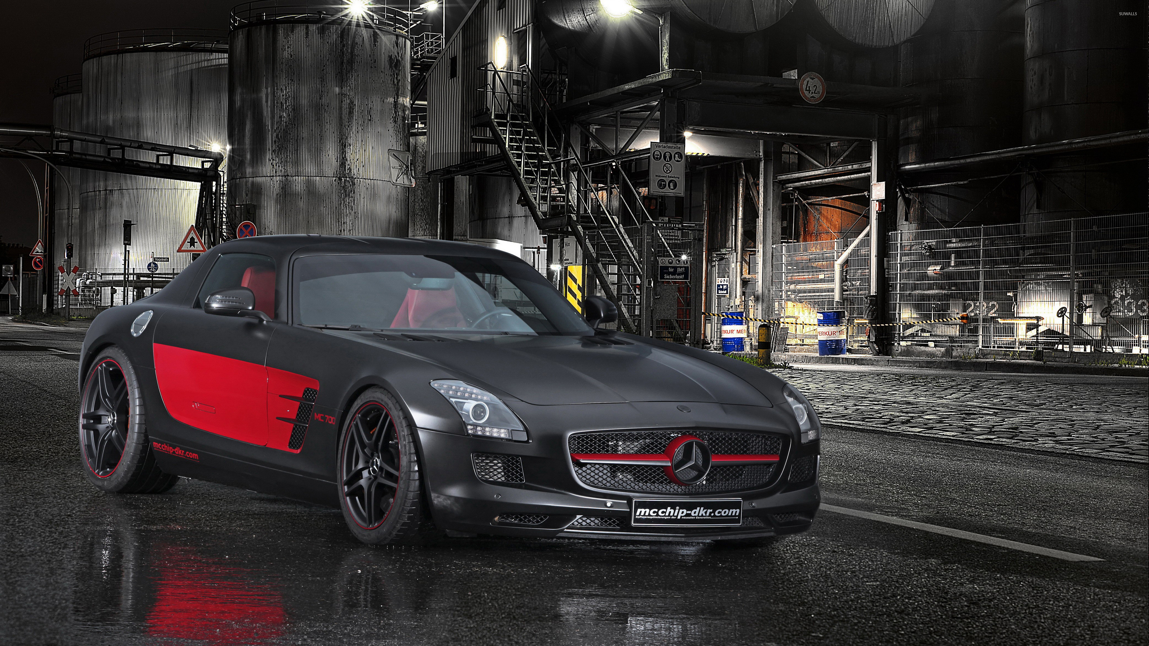 3840x2160 Black and red Mcchip-DKR Mercedes-Benz SLS AMG wallpaper