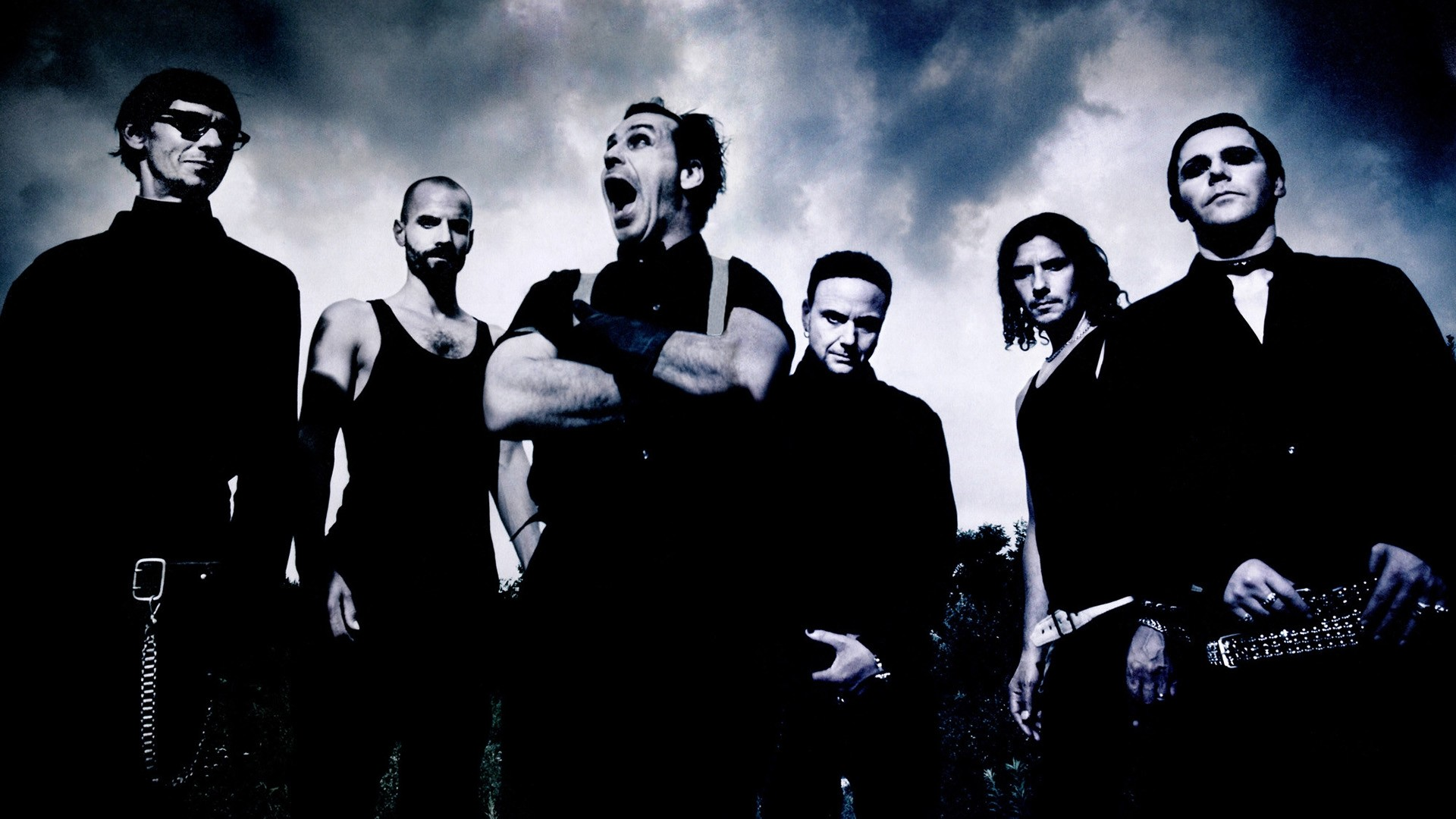 1920x1080 Preview wallpaper rammstein, scream, sky, clouds, image