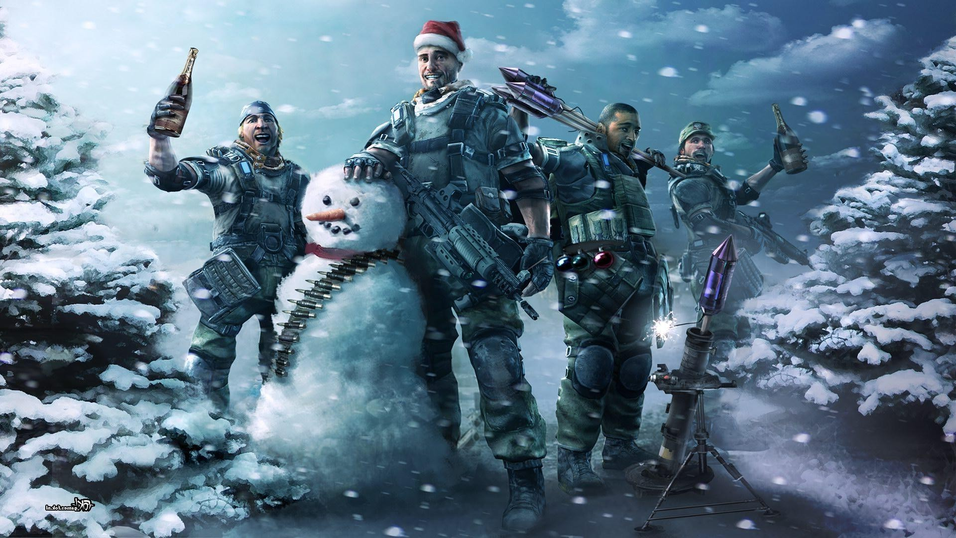 1920x1080 snowman, Snow, Christmas, Army Gear, Army, Wine, Gun, Winter, Ammunition,  Ammobelt, Killzone Wallpapers HD / Desktop and Mobile Backgrounds