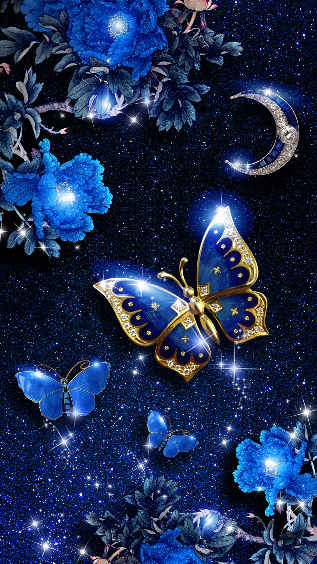 1080x1920  Elegant blue butterfly live wallpaper! Android live wallpaper/background!  It is originally designed