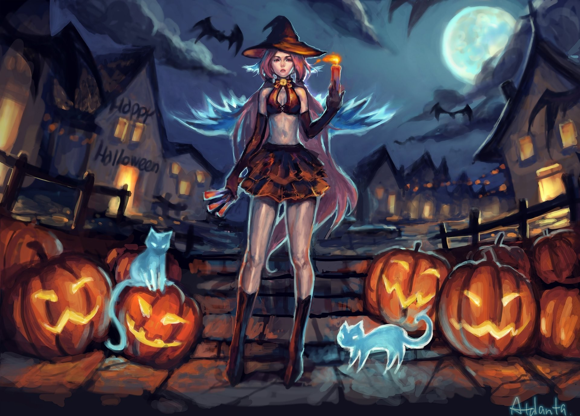 1920x1376 girl velma helluin pumpkin cats halloween