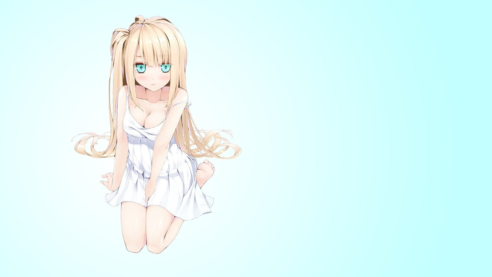 1920x1080 Anime Girls Minimalism Simple Background Twintails ...