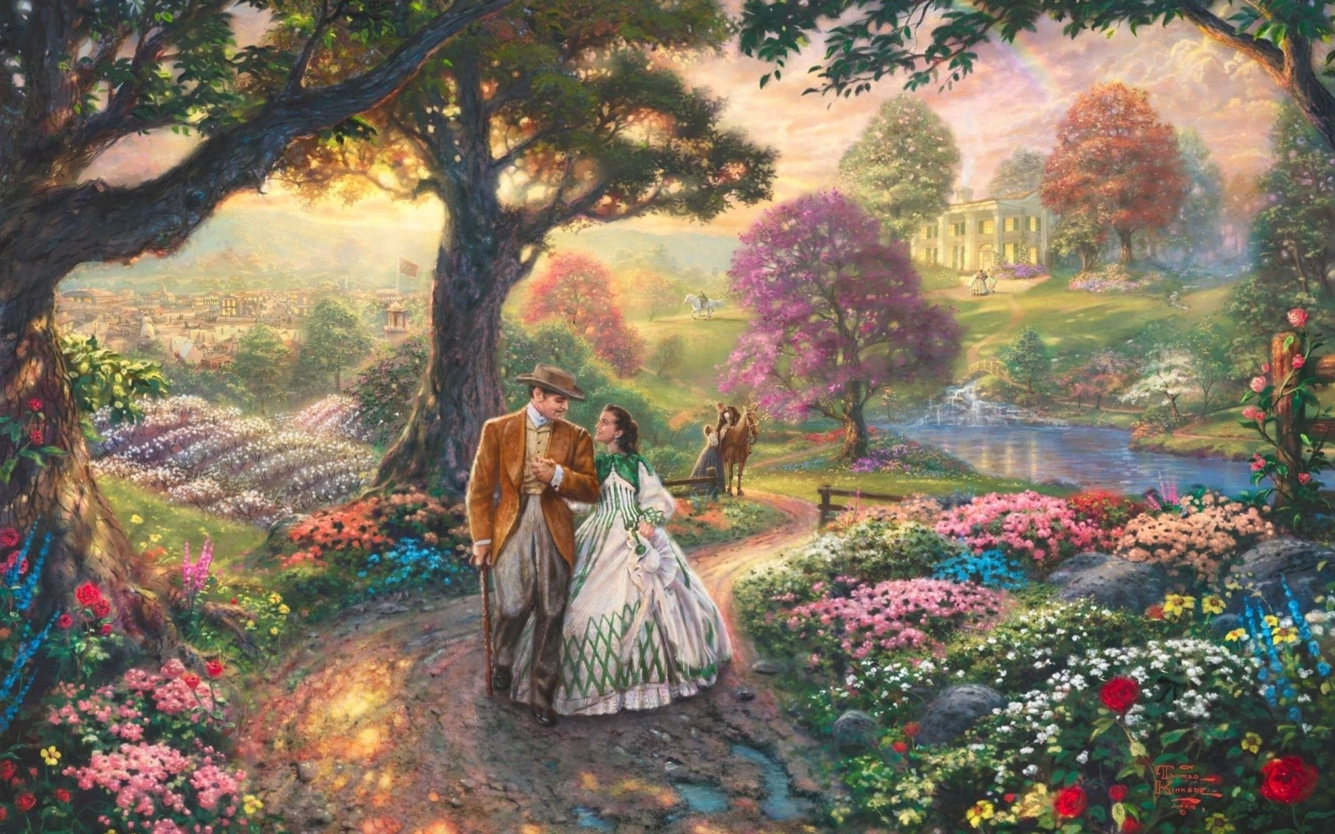 1920x1200 Gone With The Wind, Thomas Kinkade Wallpaper, Painting