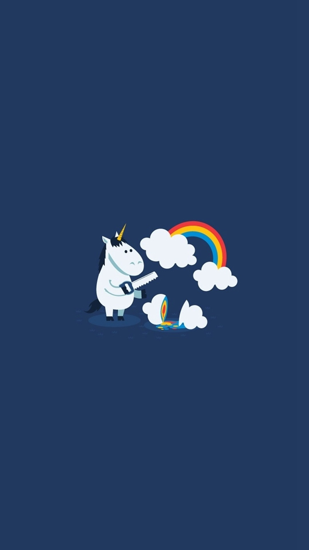 1080x1920 Unicorn Saw Clouds Rainbow Funny #iPhone #6 #plus #wallpaper