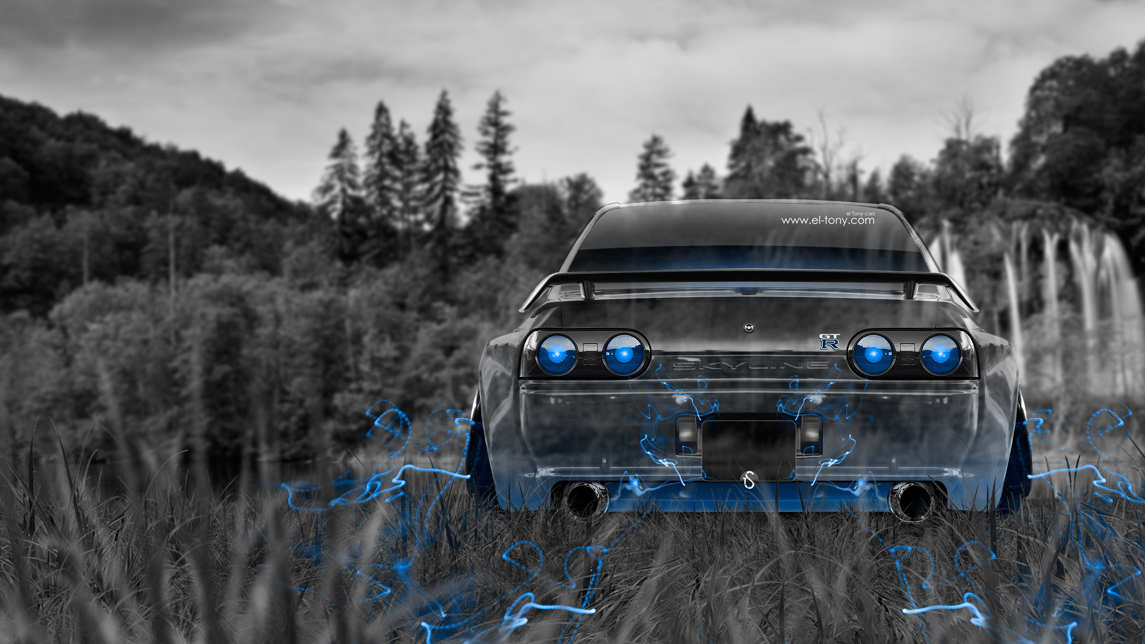 3840x2160 <b>Nissan Skyline</b> GTR R34 Anime Aerography Smoke Car 2014