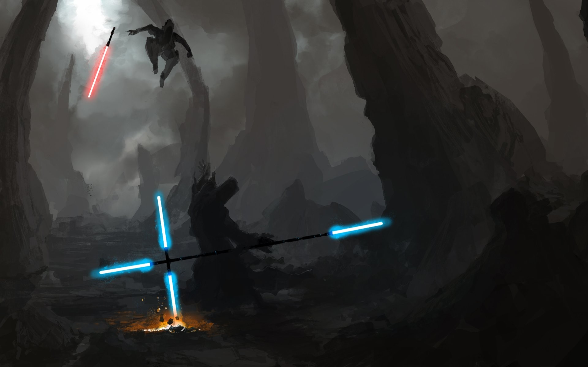 1920x1200 Artwork Duel Energy Jedi Lightsabers Sith Star Wars free iPhone or Android  Full HD wallpaper.