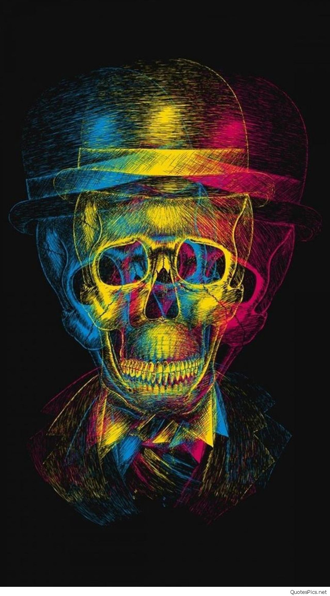 1080x1950 Colorful-Overlapping-Skull--Art-iPhone-6-plus-wallpaper