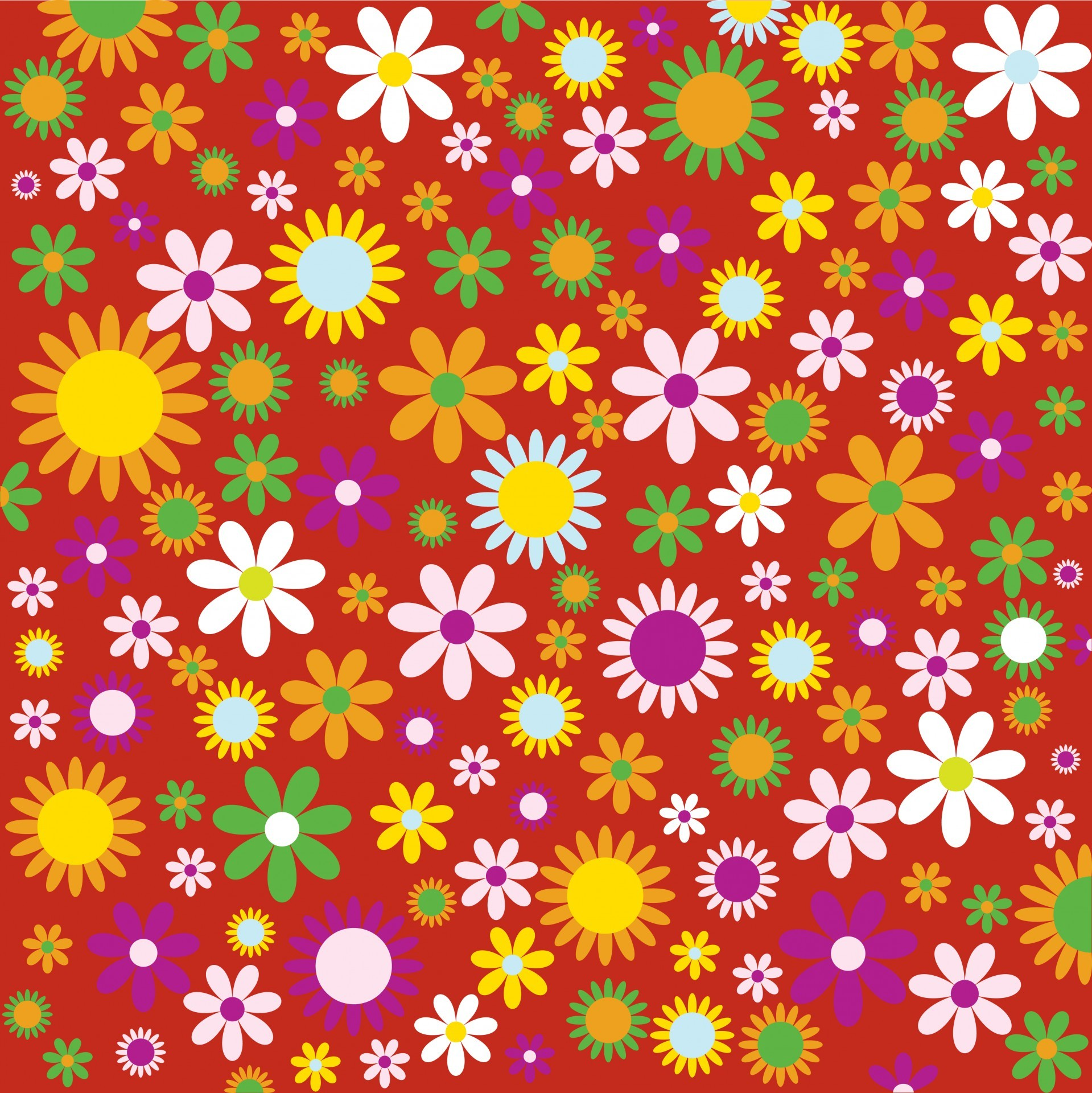 1919x1920 Flowers, Floral Background Colorful