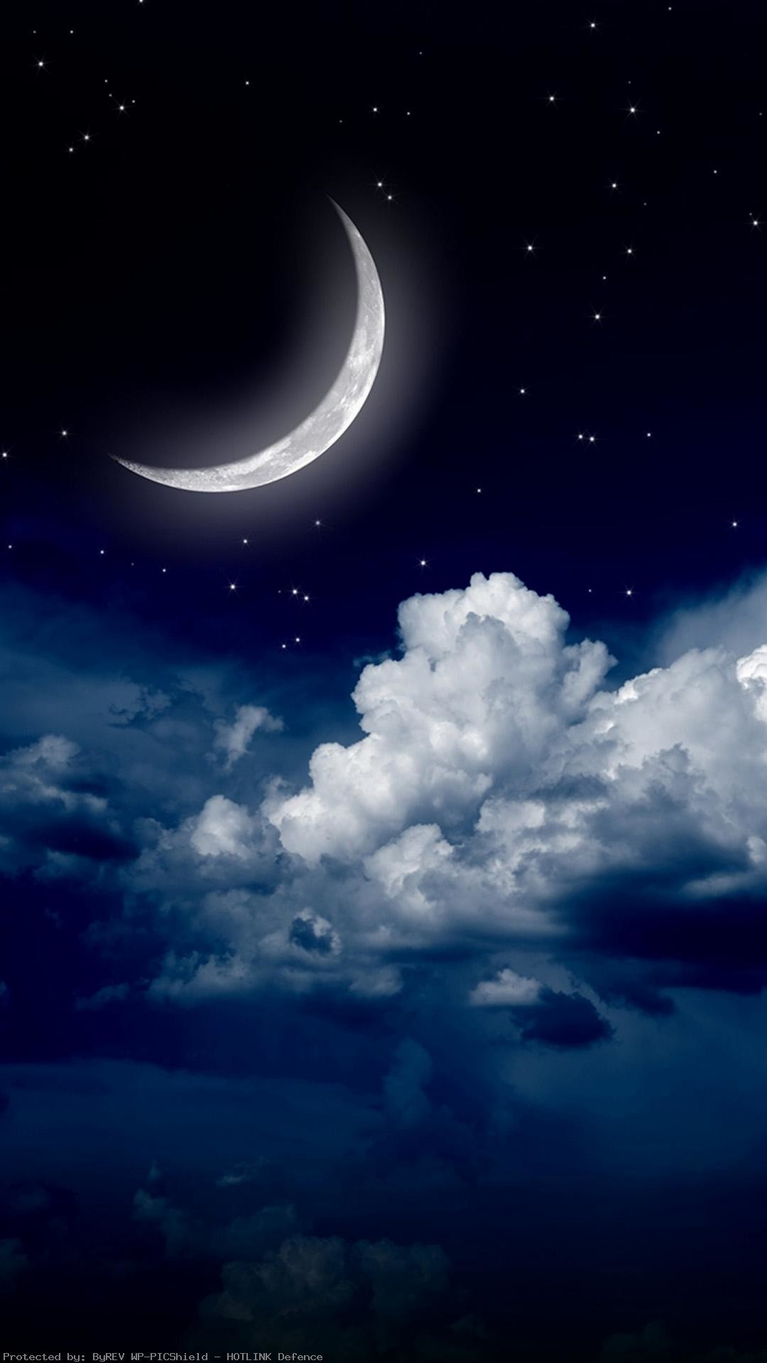 1080x1920 Sky-clouds-moon-iPhone-of-night-stars-view-