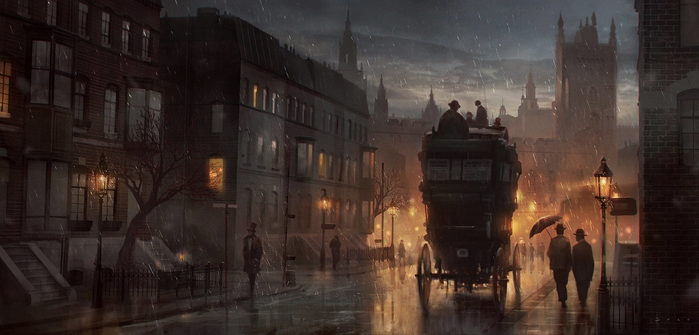 2250x1080 London Streets at Night Wallpaper Street Art Night London